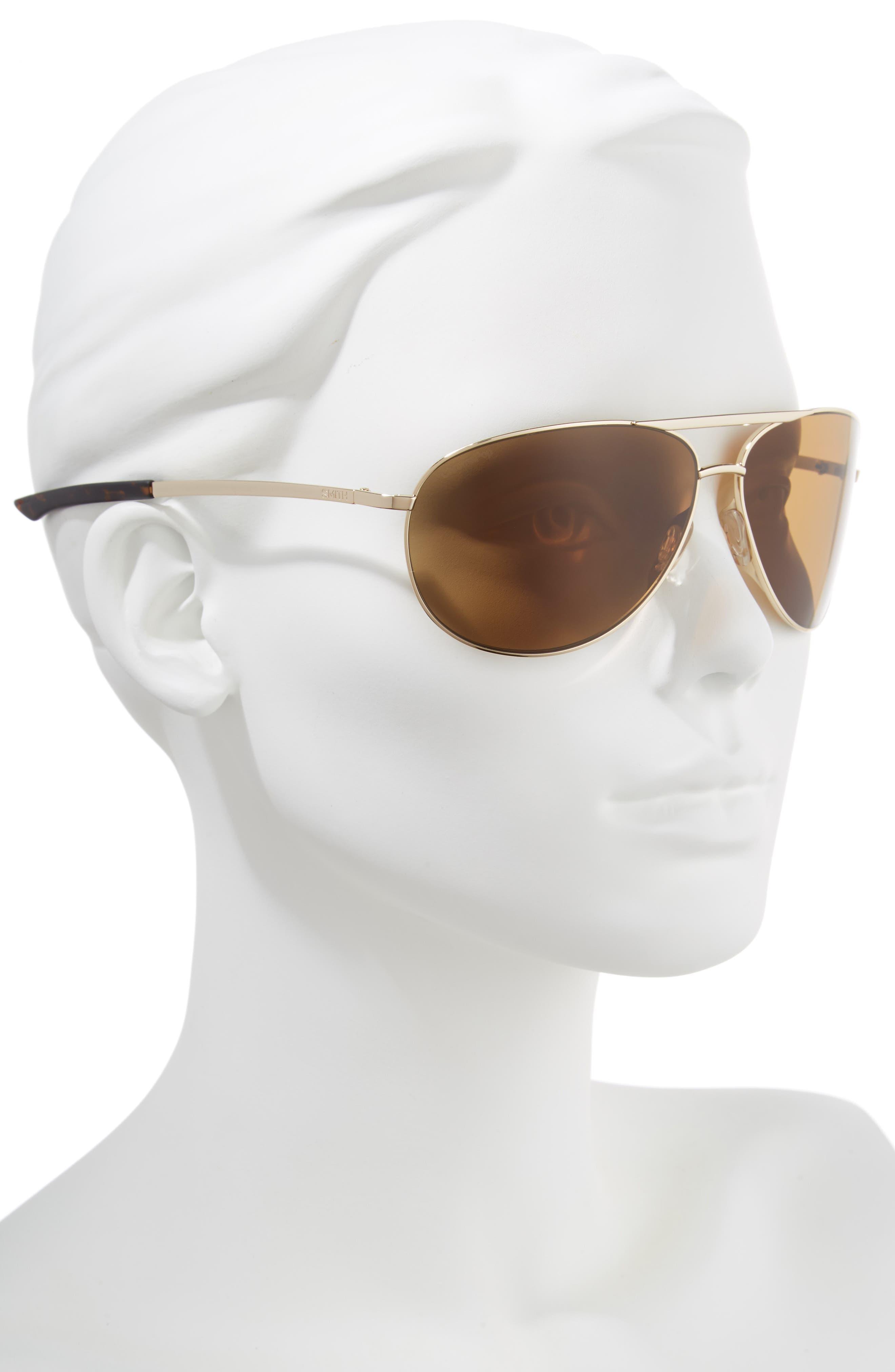Serpico Slim 2.0 65mm ChromaPop<sup>™</sup> Polarized Aviator Sunglasses,                             Alternate thumbnail 2, color,                             GOLD/ BROWN POLAR