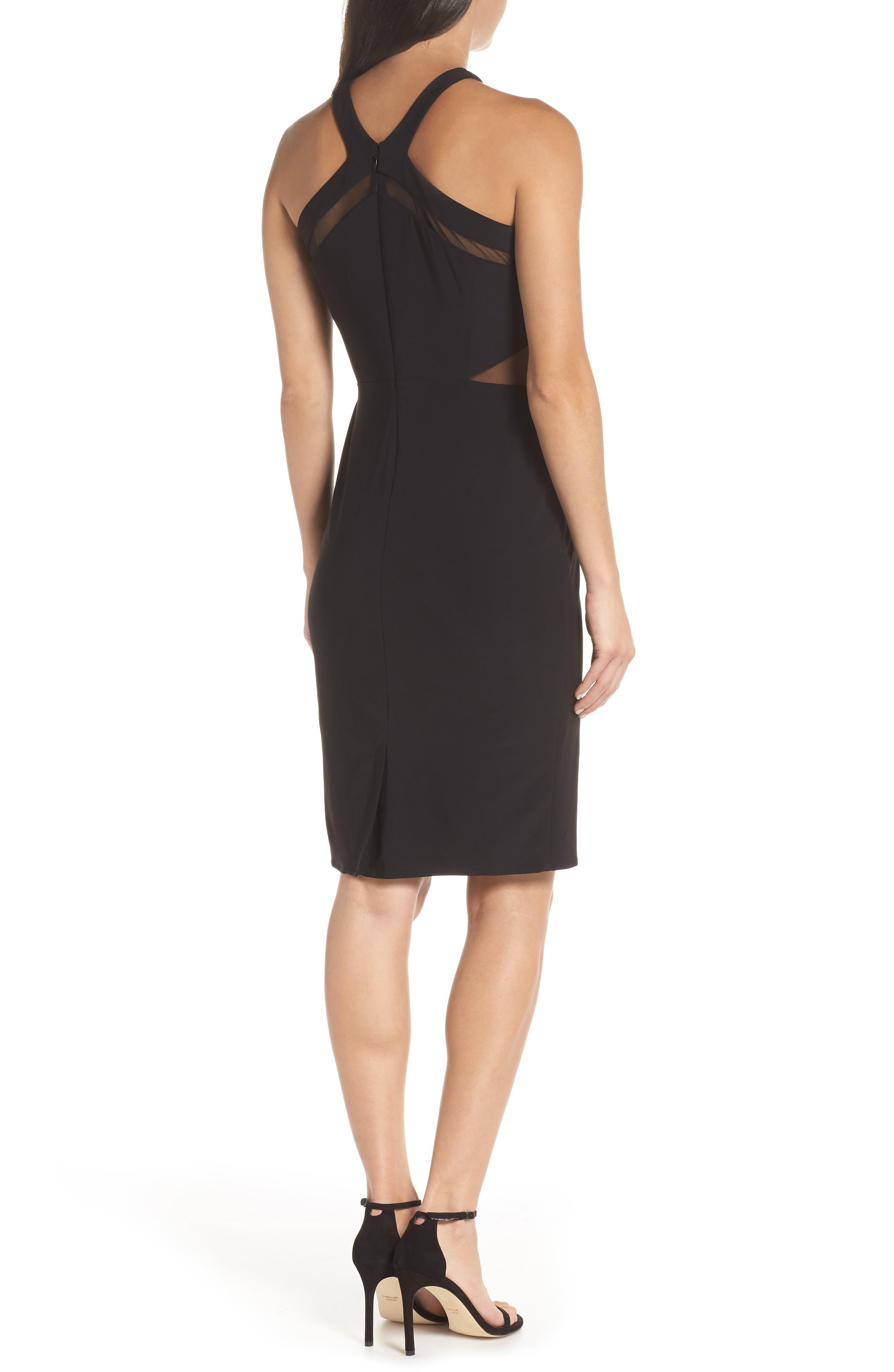 Mesh Inset Sheath Dress,                             Alternate thumbnail 2, color,                             BLACK