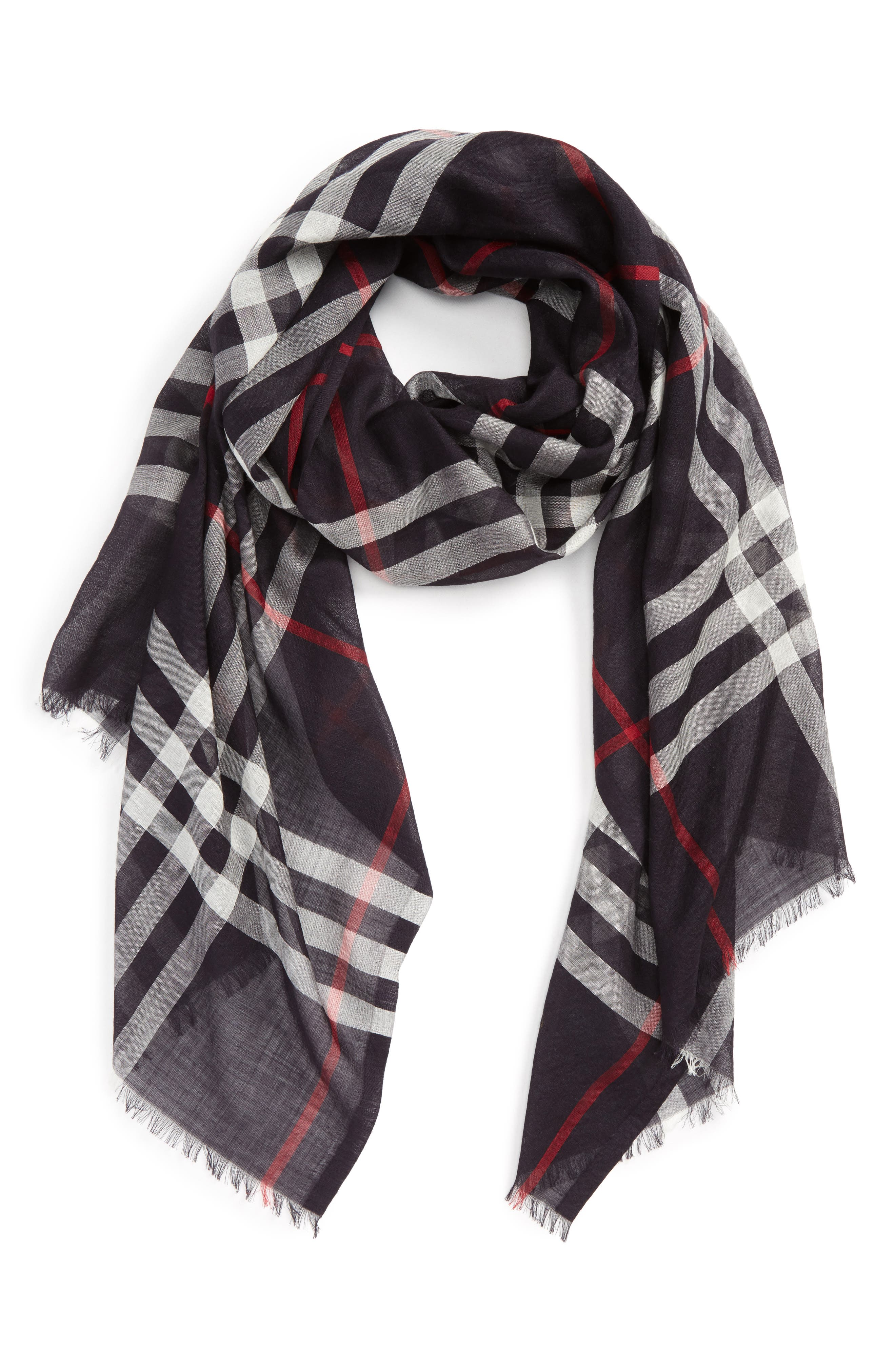 Giant Check Print Wool & Silk Scarf,                             Alternate thumbnail 120, color,