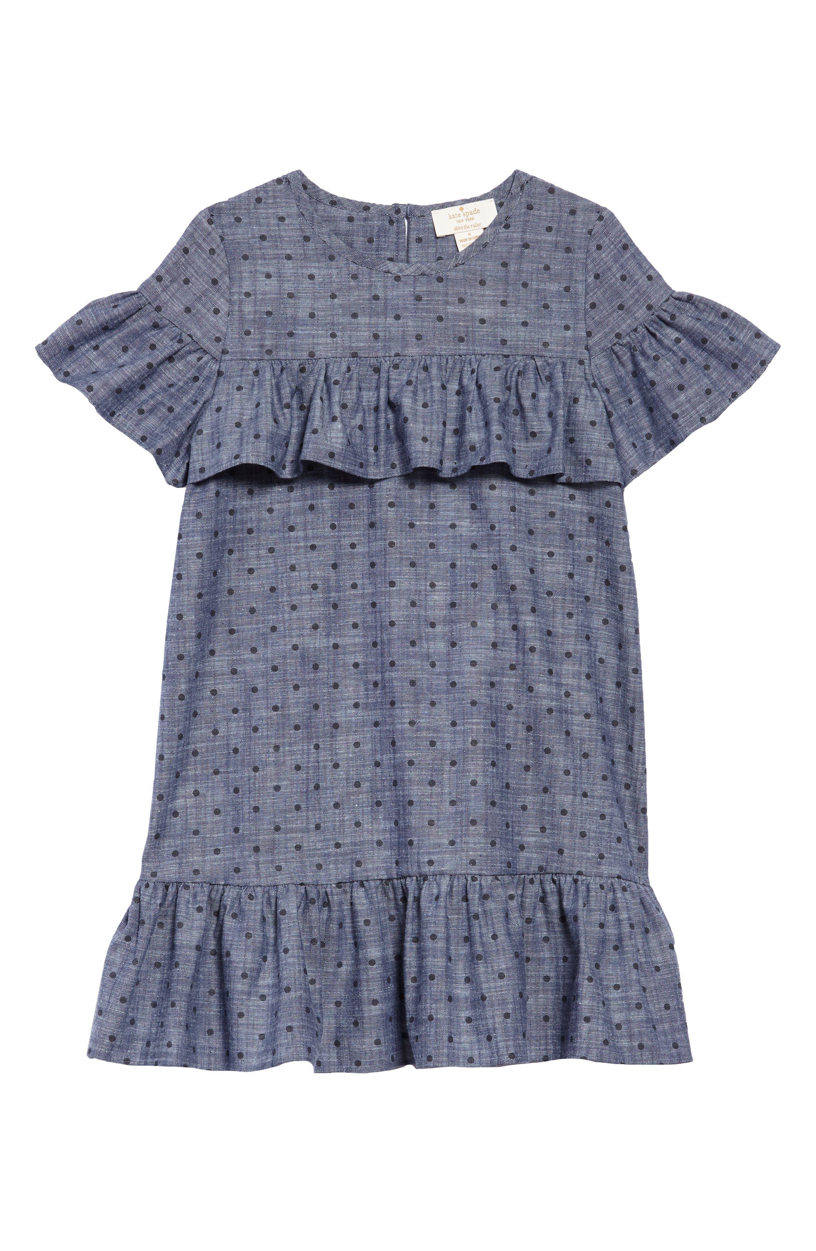 ruffle dot chambray dress,                             Main thumbnail 1, color,                             CHAMBRAY DOT