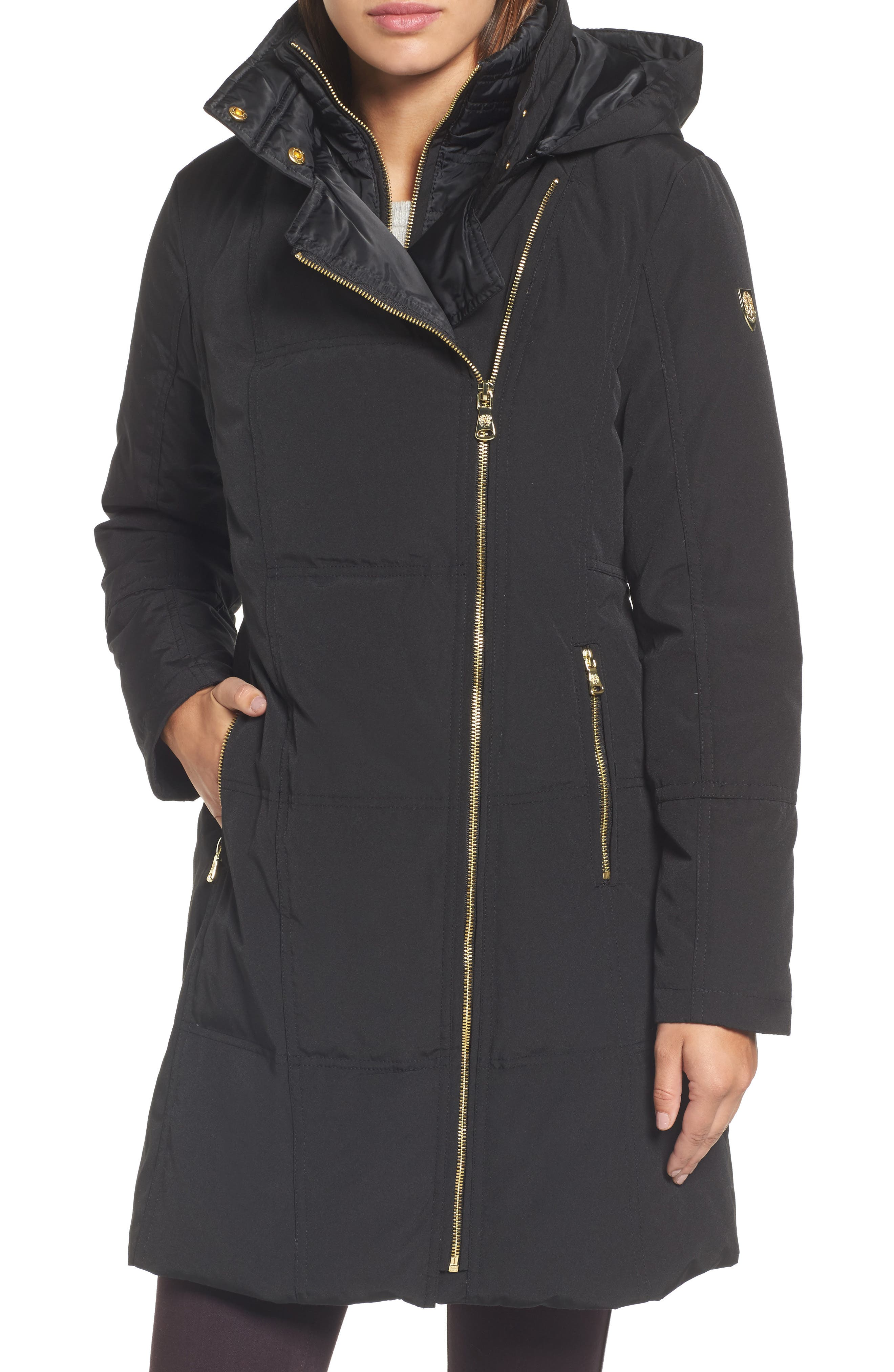 Down & Feather Fill Coat,                         Main,                         color, 001