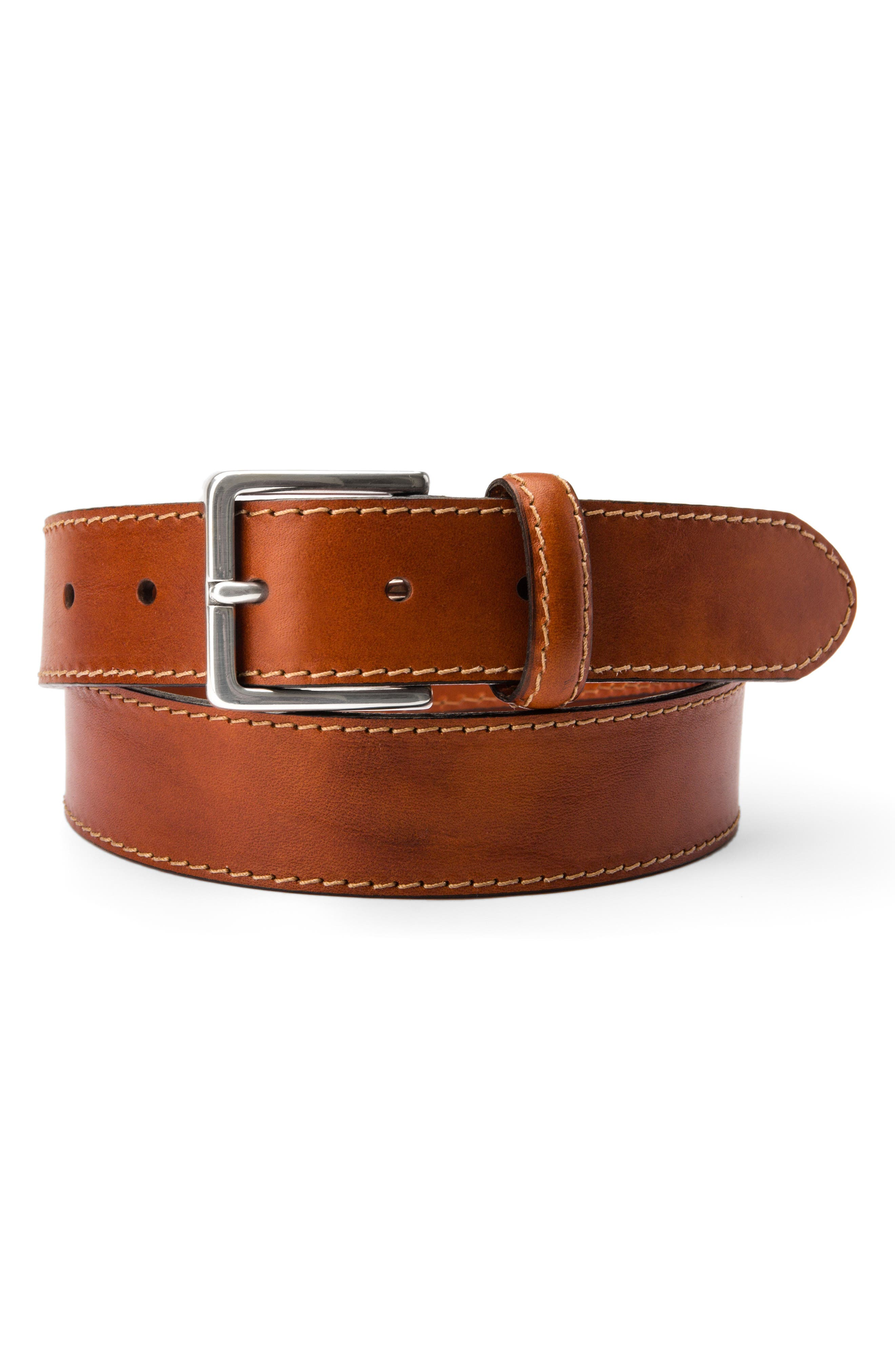 The Franco Leather Belt,                             Alternate thumbnail 4, color,                             AMBER