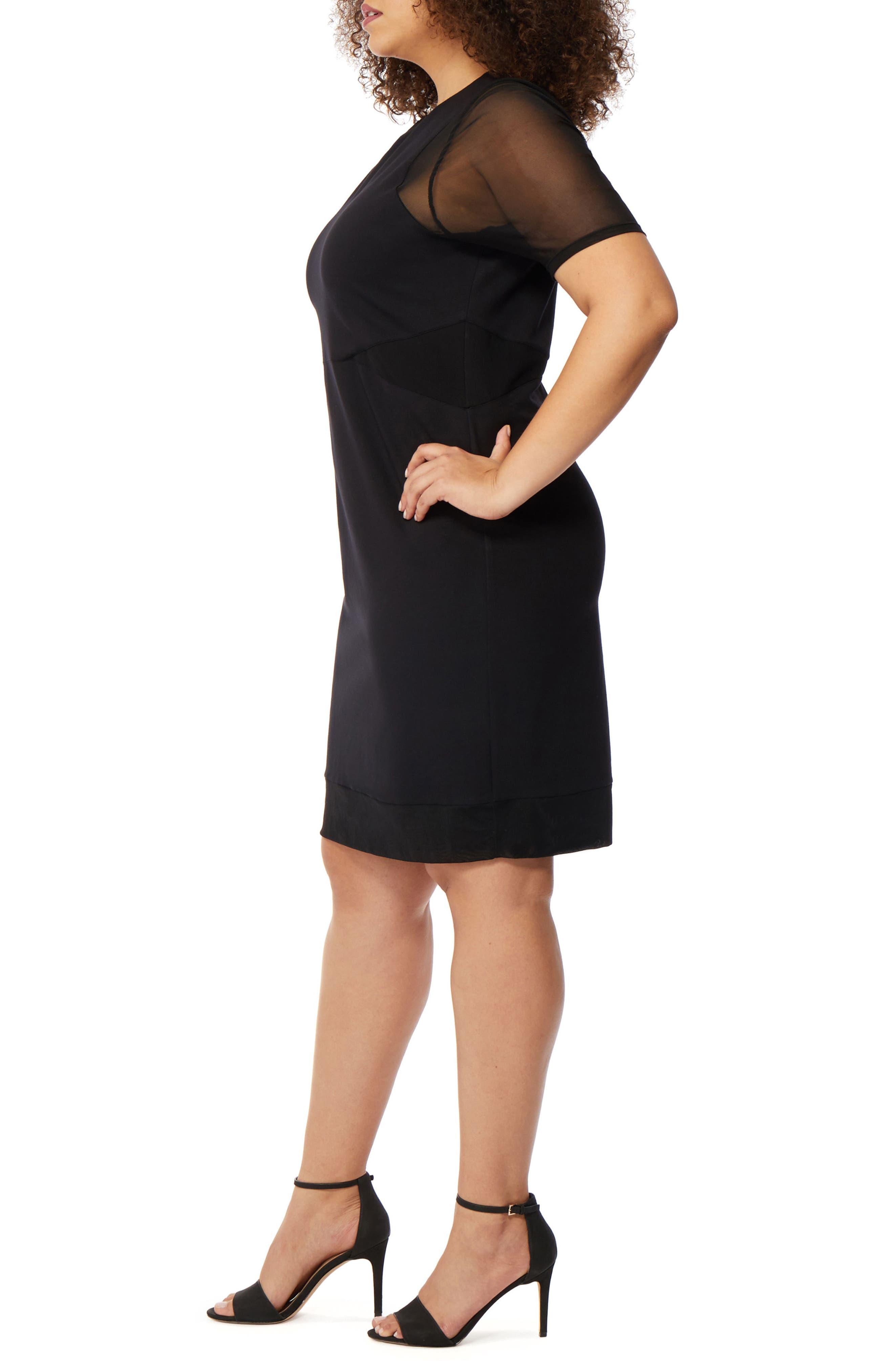 Mesh Sleeve Body-Con Dress,                             Alternate thumbnail 3, color,                             BLACK
