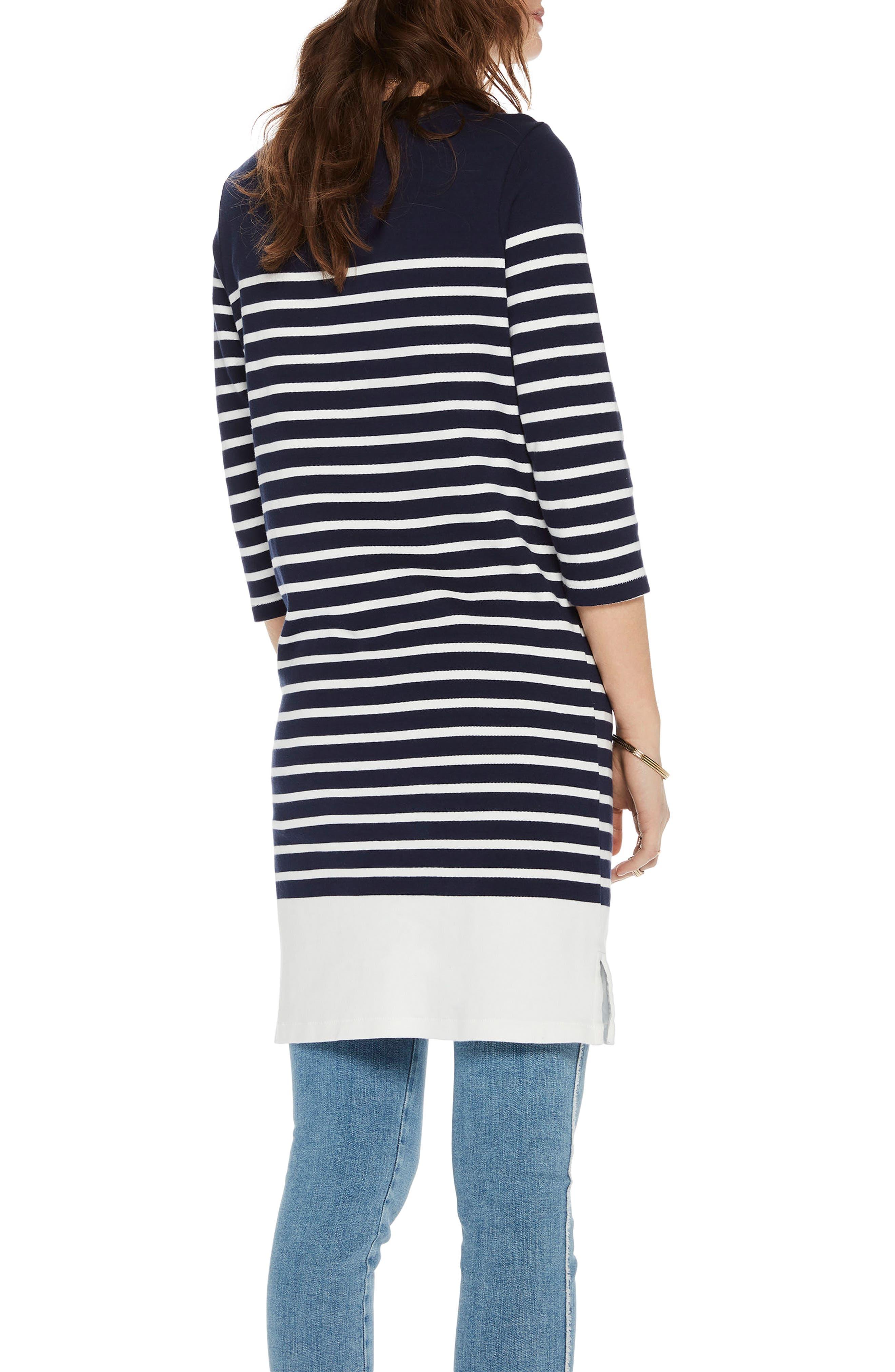Heart Patch Breton Stripe Dress,                             Alternate thumbnail 2, color,                             401