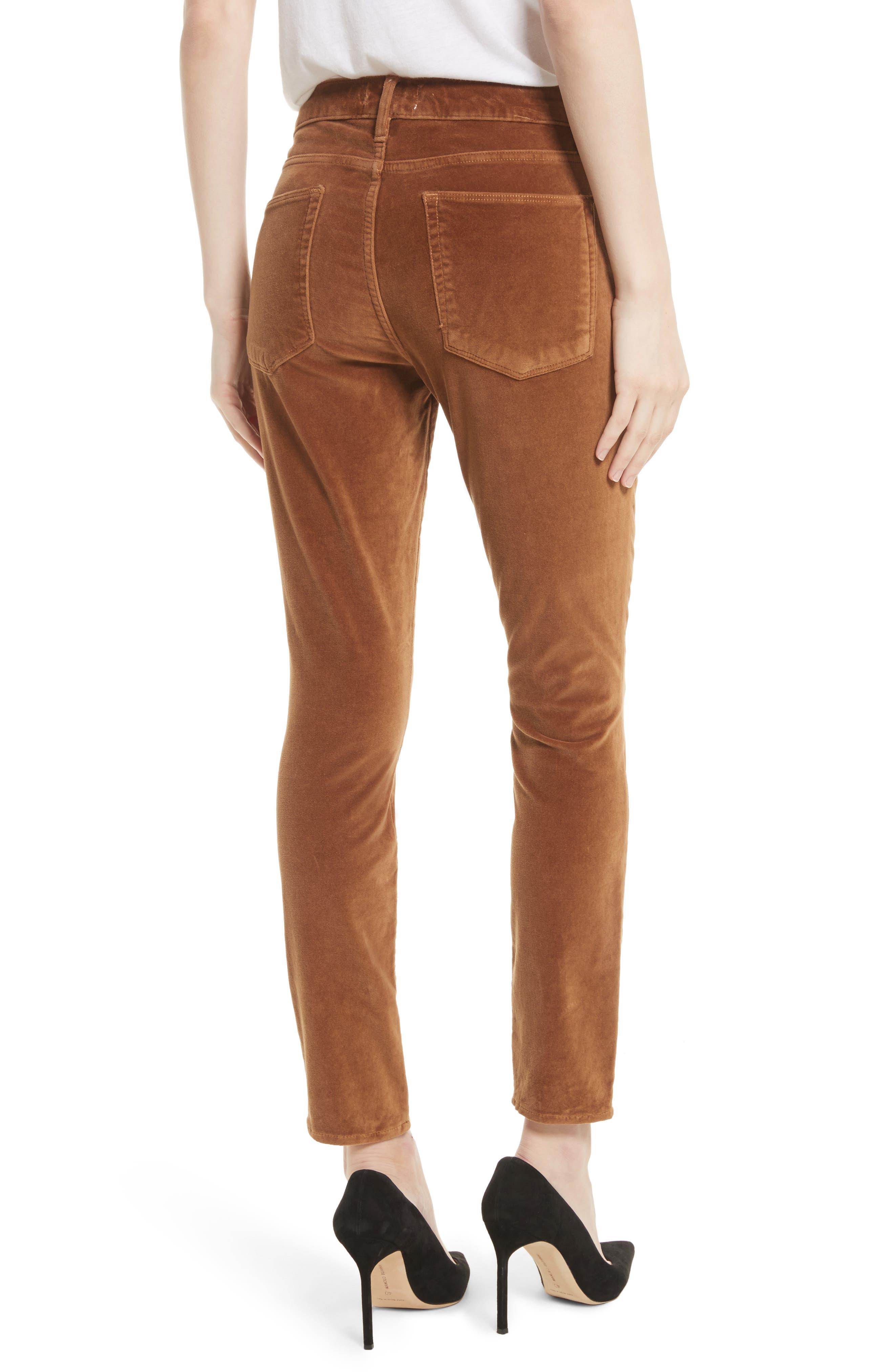 Velveteen High Waist Skinny Pants,                             Alternate thumbnail 4, color,