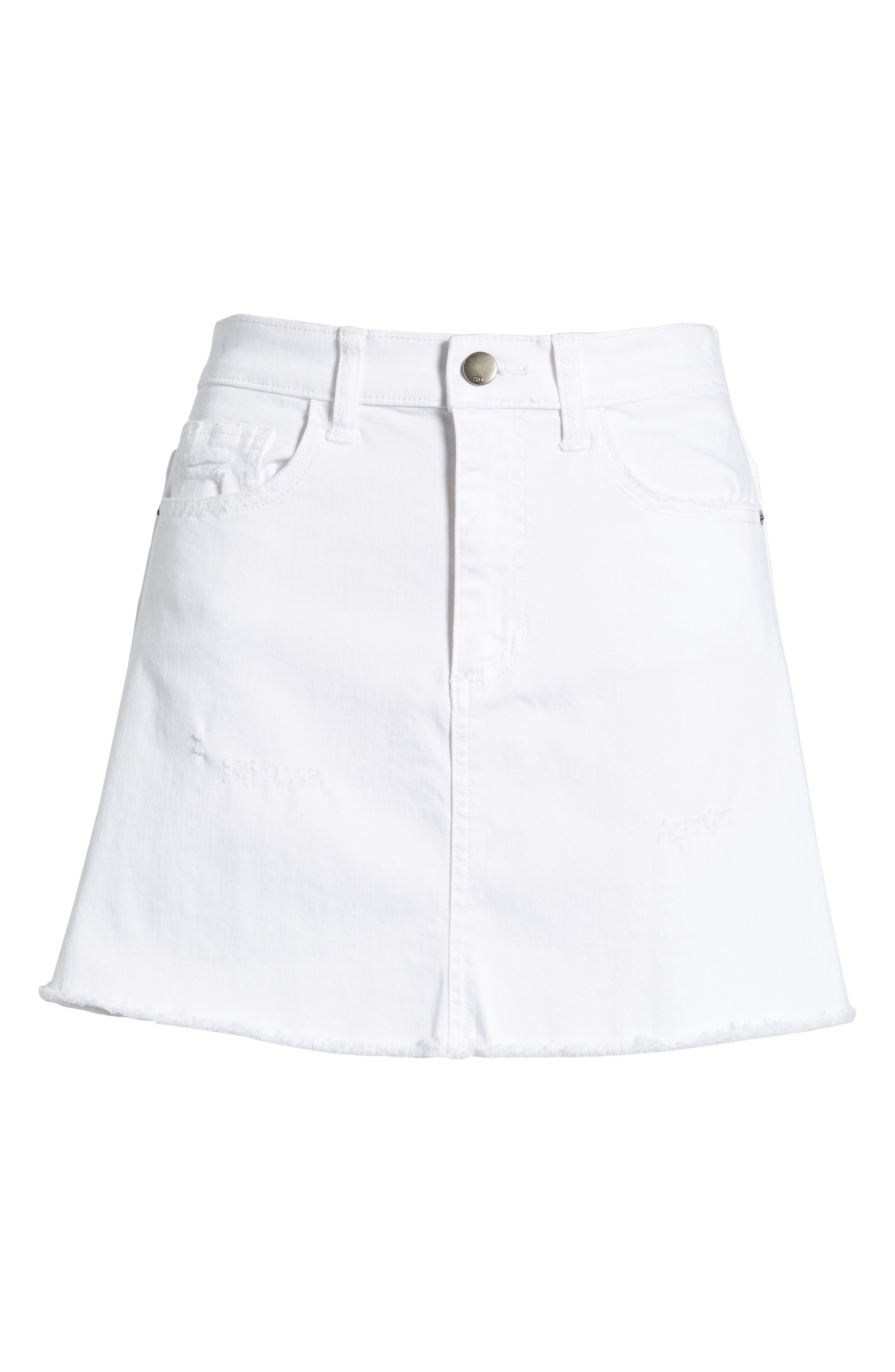 Raw Hem Denim Miniskirt,                             Alternate thumbnail 7, color,                             100