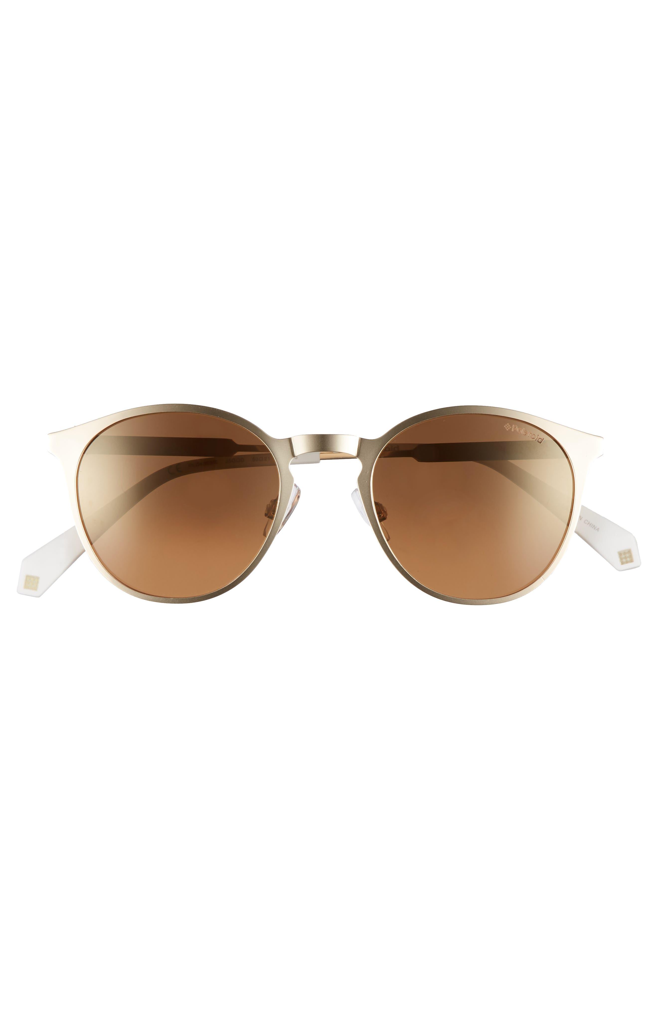 50mm Round Polarized Sunglasses,                             Alternate thumbnail 3, color,                             GOLD