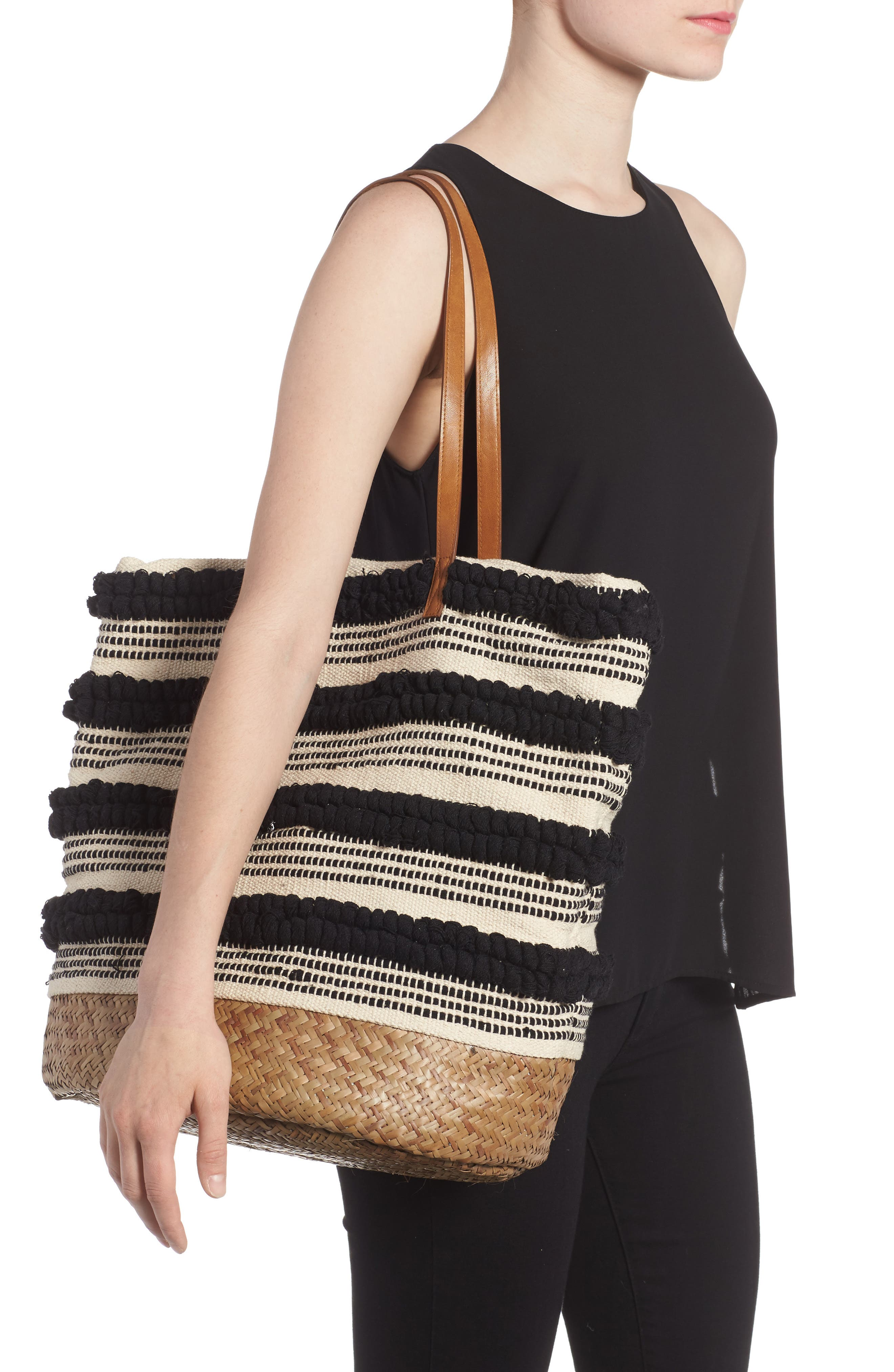 Woven Bottom Tote,                             Alternate thumbnail 2, color,                             001