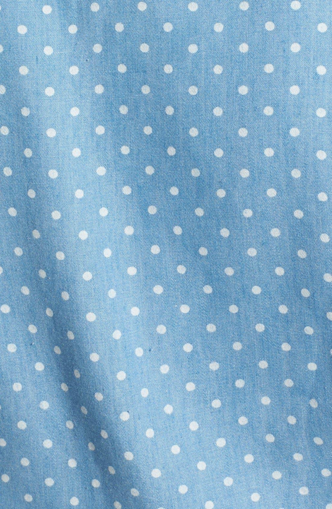 Polka Dot Sleeveless Tie Waist Shirt,                             Alternate thumbnail 4, color,                             400