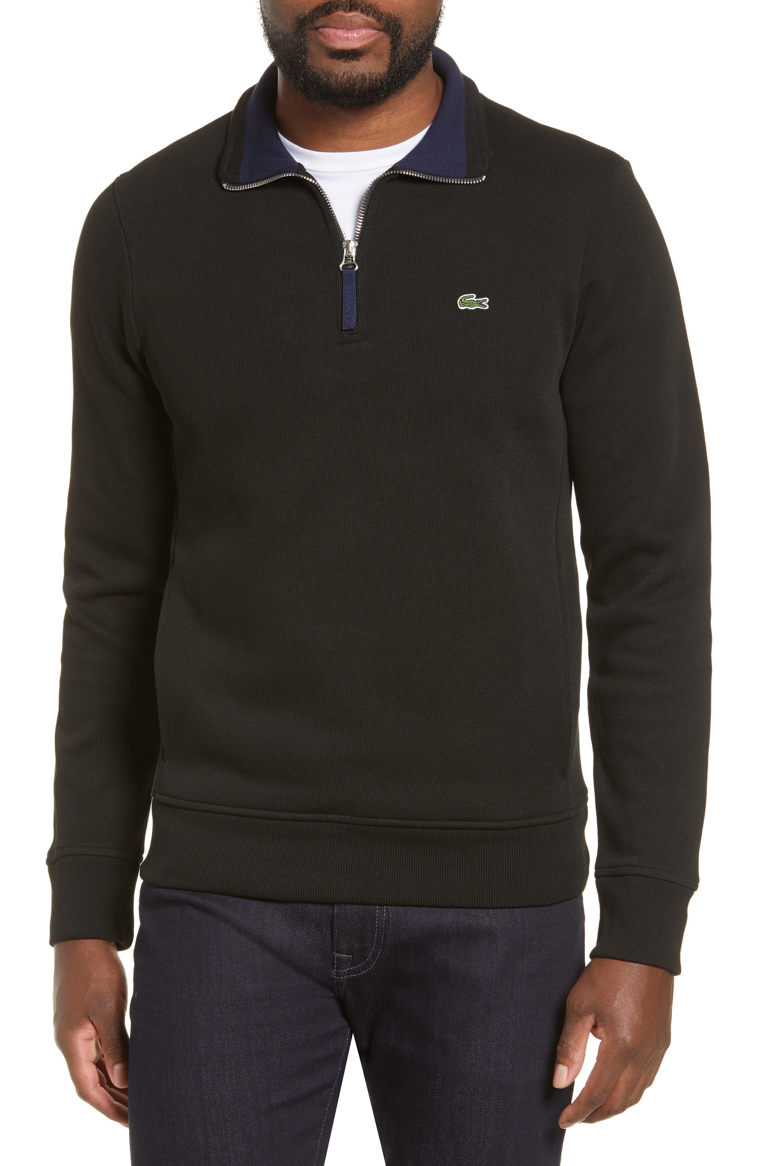 LACOSTE,                             Quarter Zip Pullover,                             Main thumbnail 1, color,                             BLACK/ NAVY BLUE