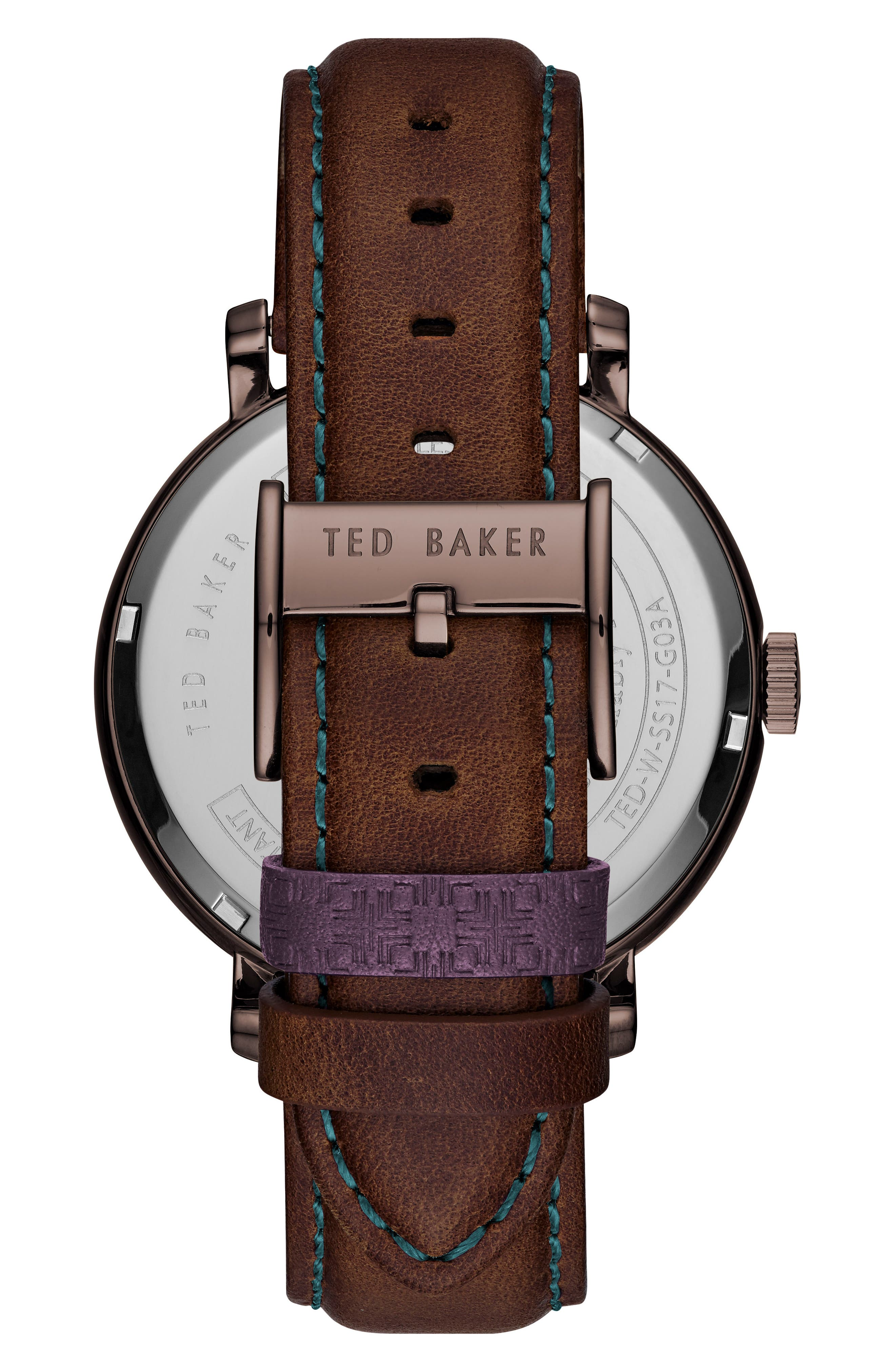 Trent Leather Strap Watch, 44mm,                             Alternate thumbnail 2, color,                             BROWN/ DARK BROWN