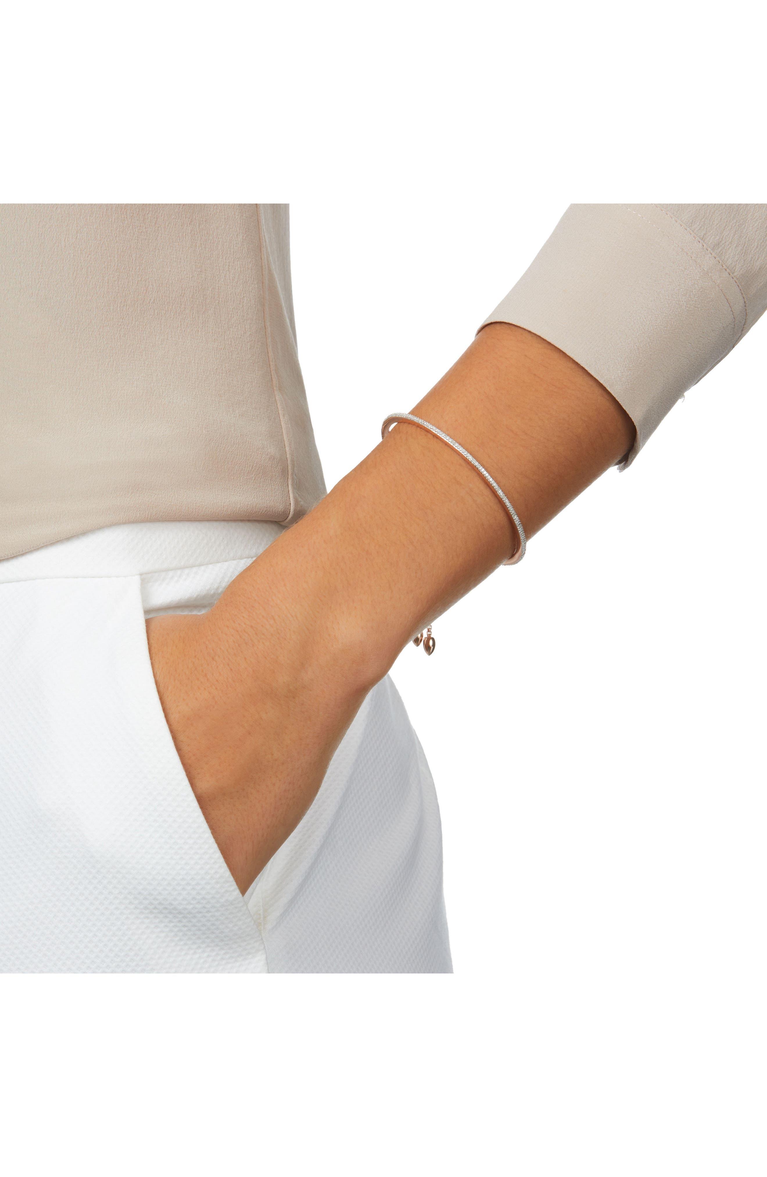Fiji Skinny Vermeil Diamond Bar Bracelet,                             Alternate thumbnail 2, color,                             ROSE GOLD