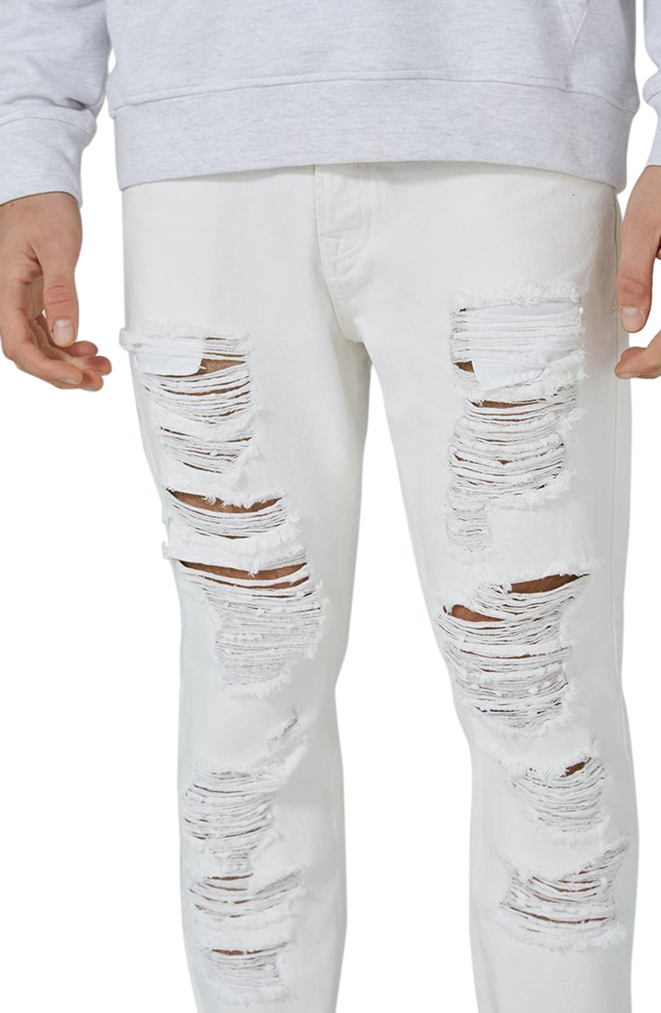 Extreme Ripped Tapered Fit Jeans,                             Alternate thumbnail 3, color,                             WHITE