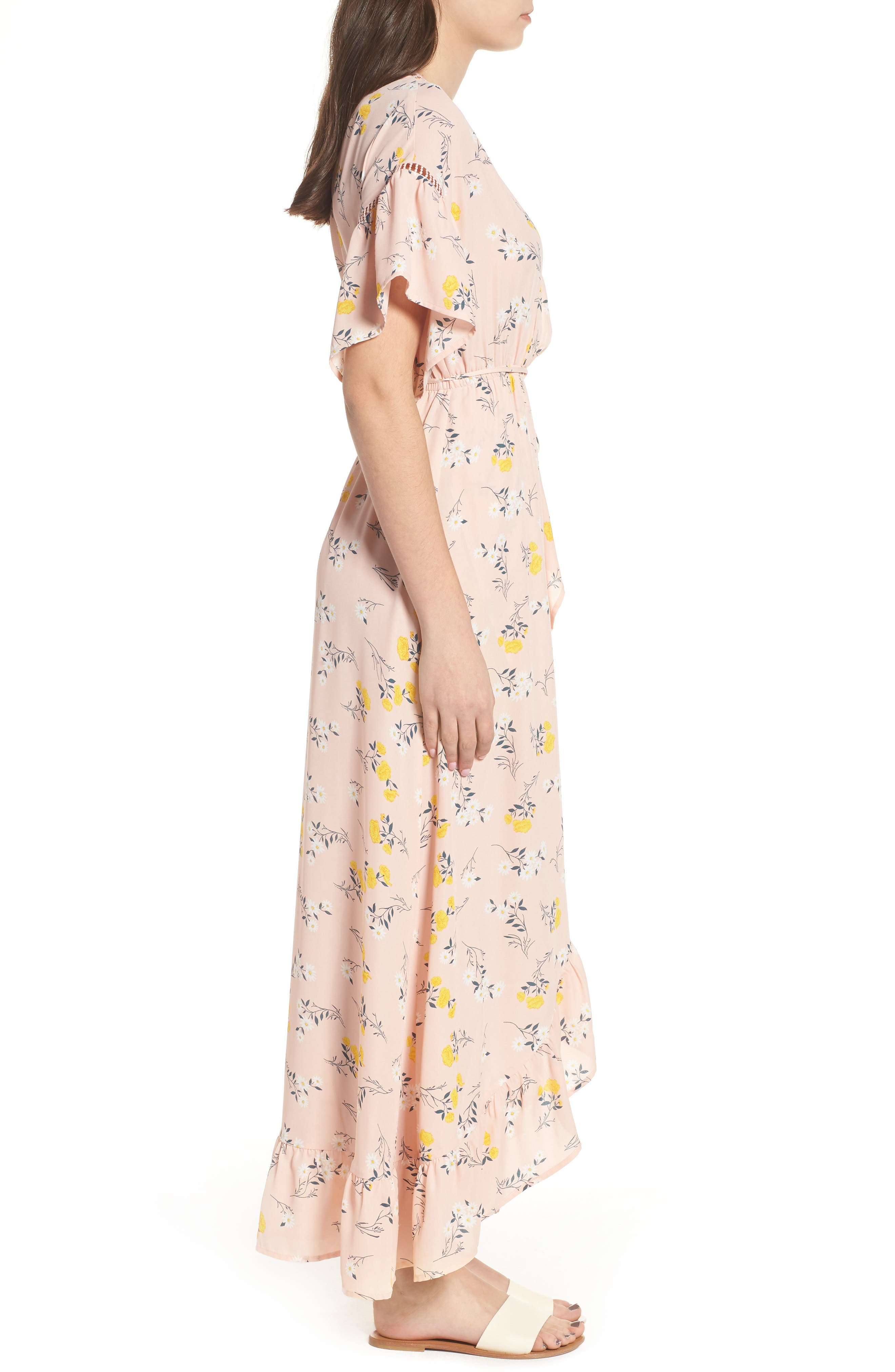 Romance Floral Wrap Style Dress,                             Alternate thumbnail 3, color,                             650