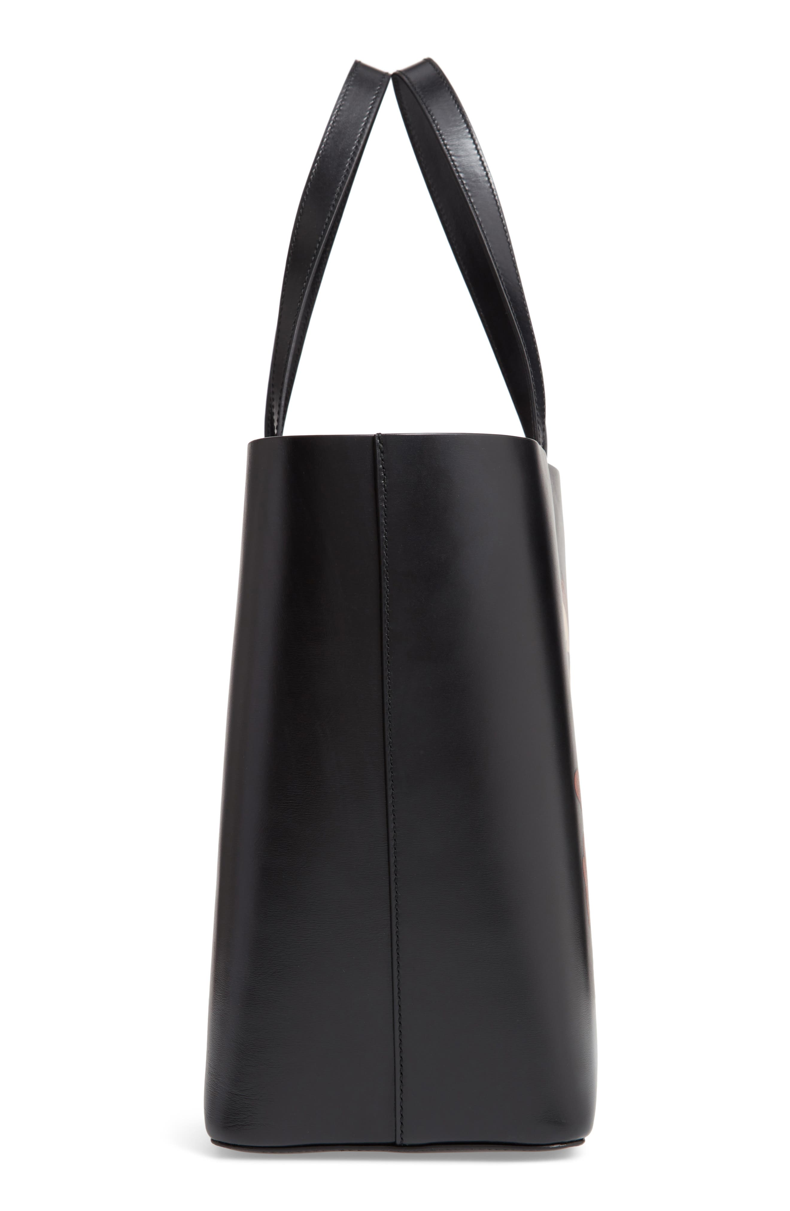 Coyote East/West Leather Tote,                             Alternate thumbnail 5, color,                             BLACK