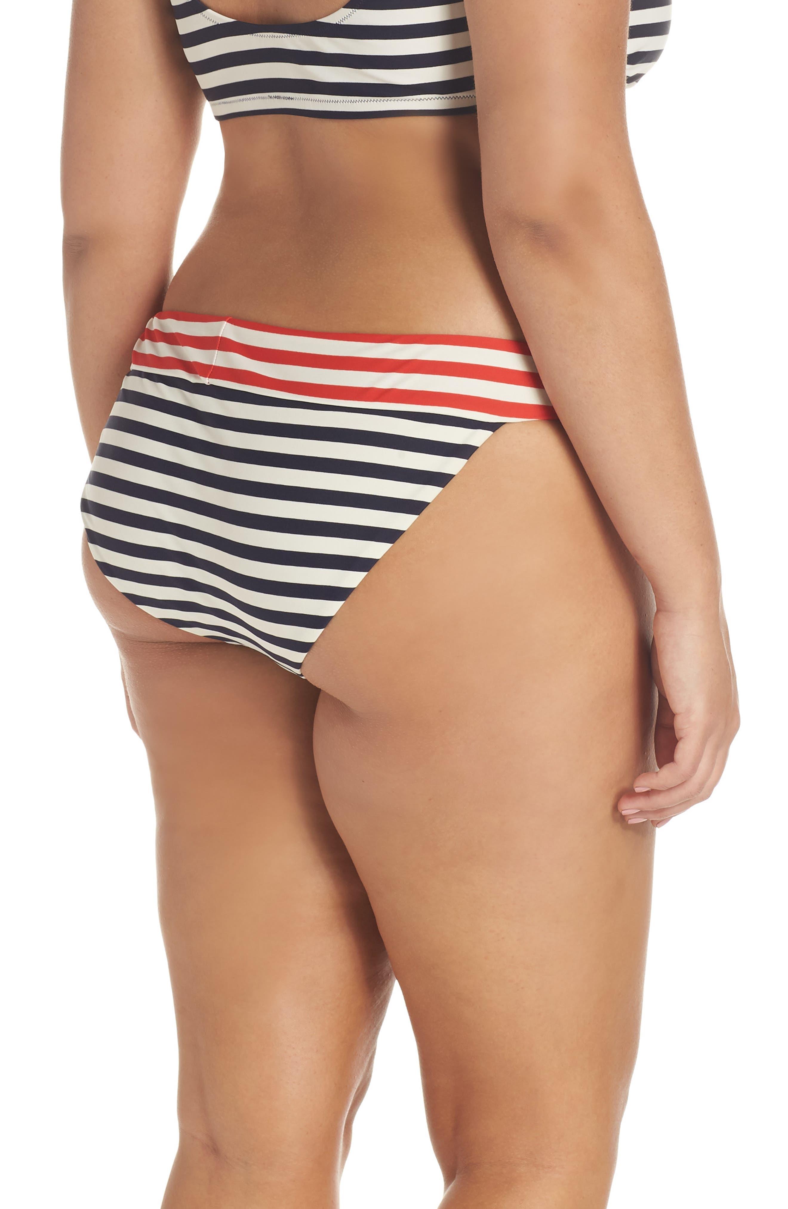 Stripe Banded Bikini Bottoms,                             Alternate thumbnail 2, color,                             NAVY VIVID FLAME