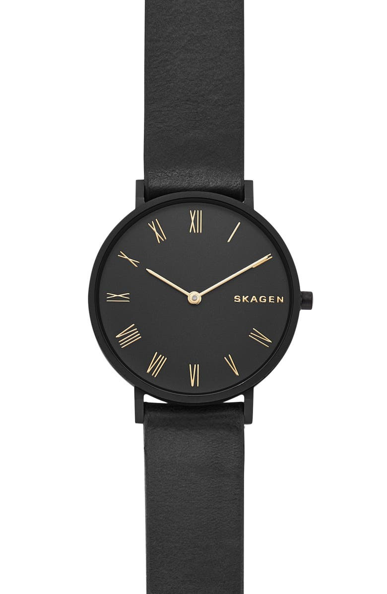 Skagen SLIM HALD LEATHER STRAP WATCH, 34MM