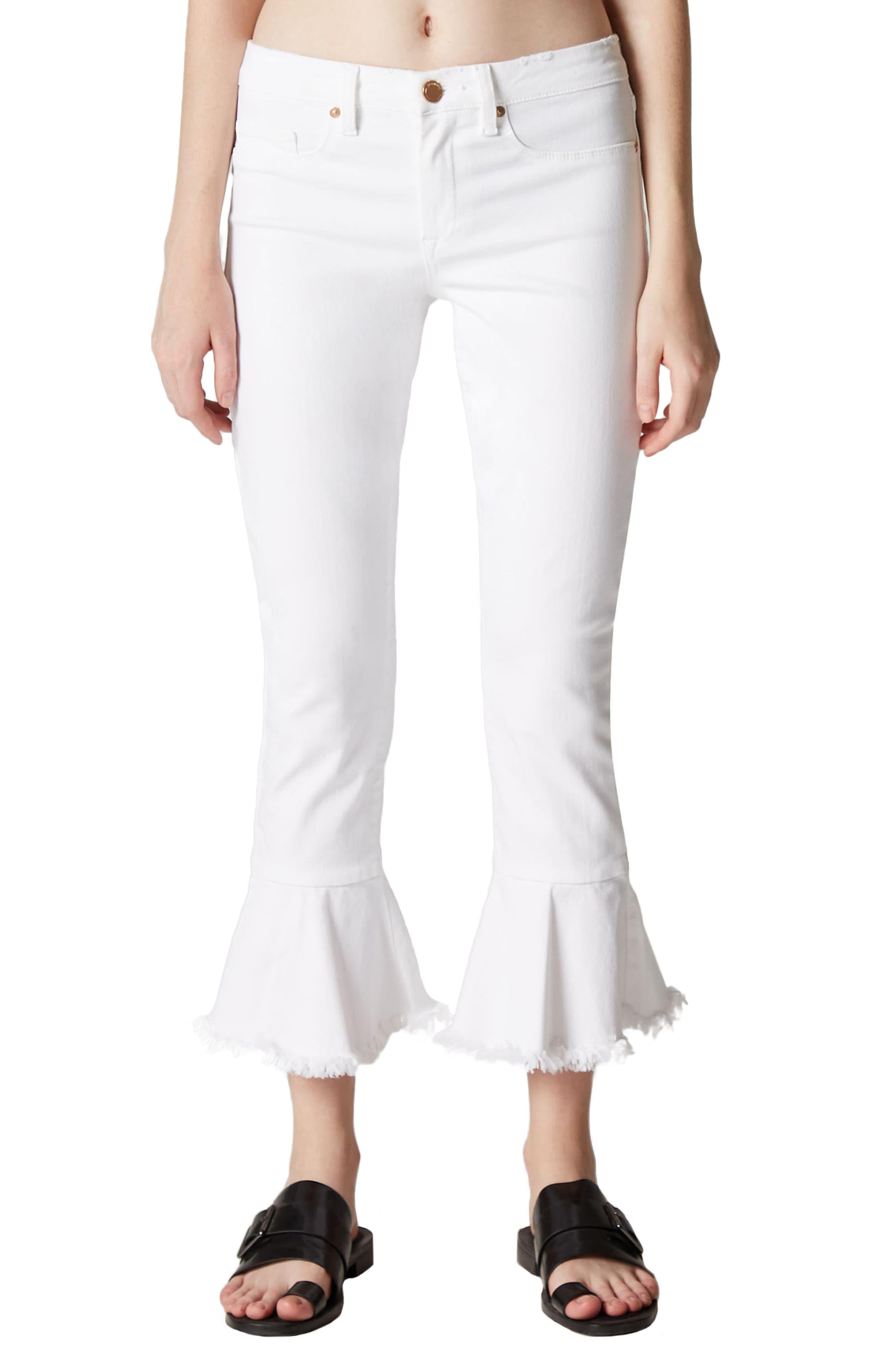 Great White Ruffle Hem Jeans,                             Main thumbnail 1, color,                             100
