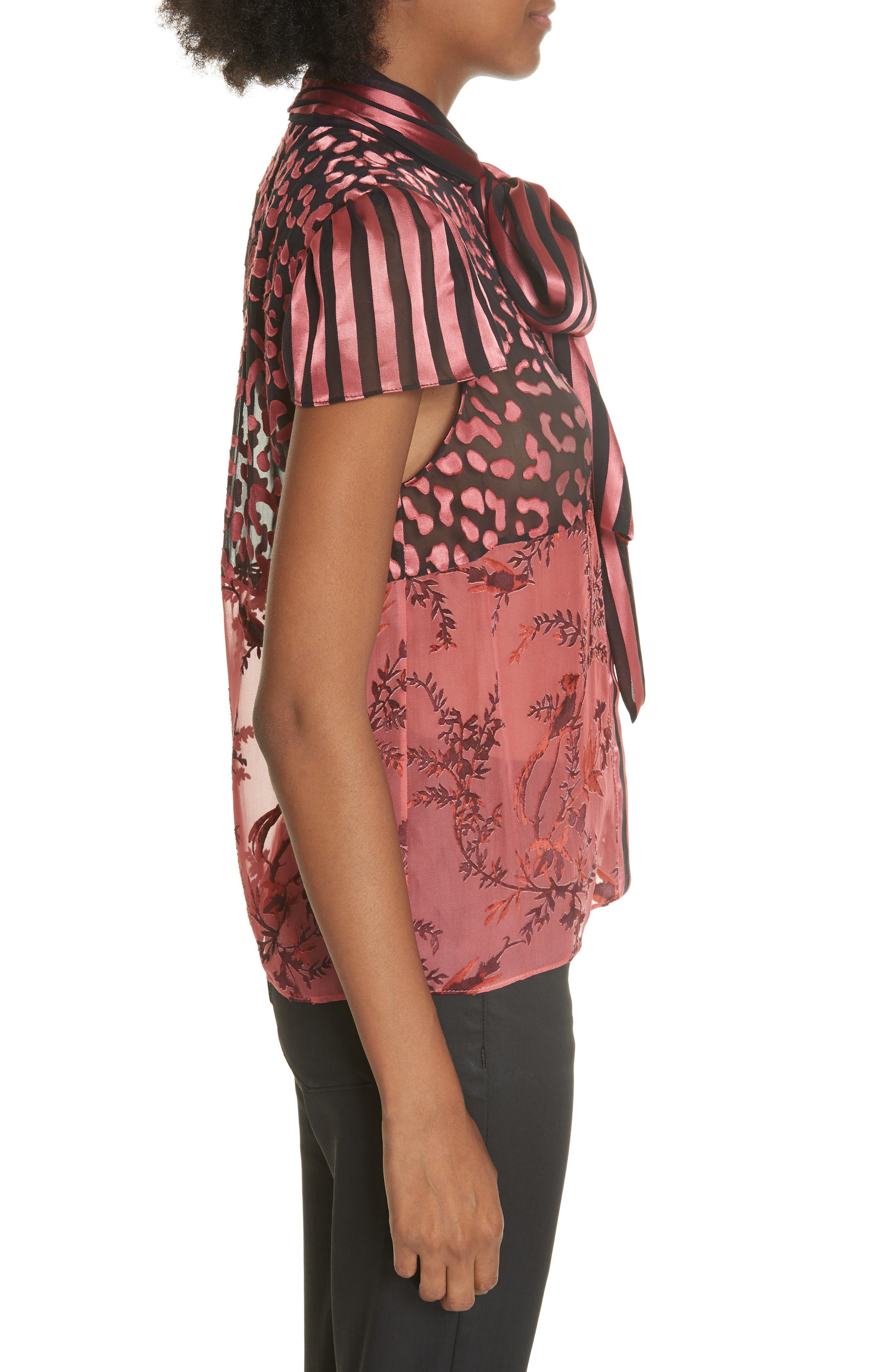 Jeannie Bow Neck Blouse,                             Alternate thumbnail 3, color,                             TWO TONE BIRD/ ROSE