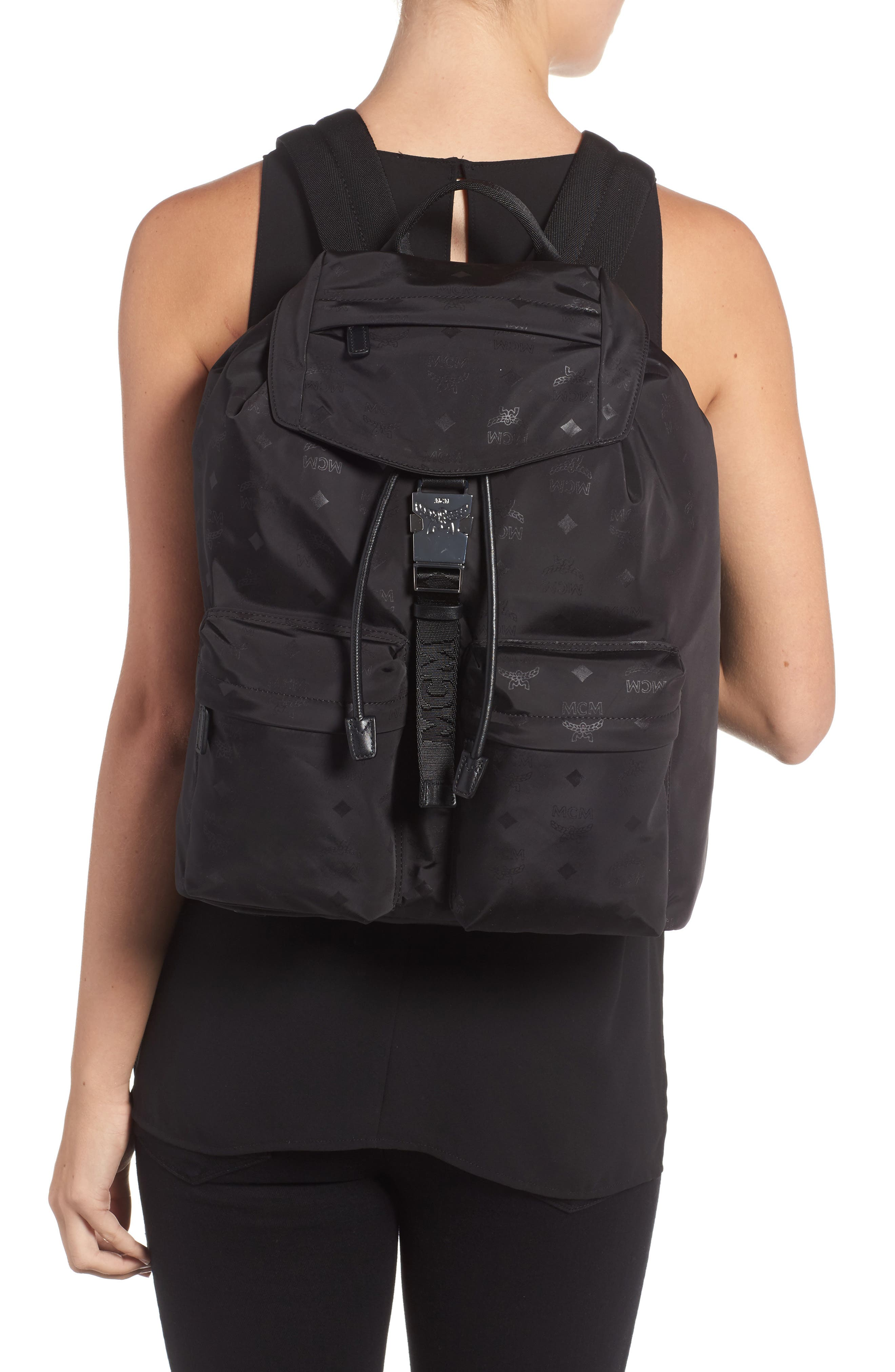 Large Dieter Monogrammed Nylon Backpack,                             Alternate thumbnail 2, color,                             001