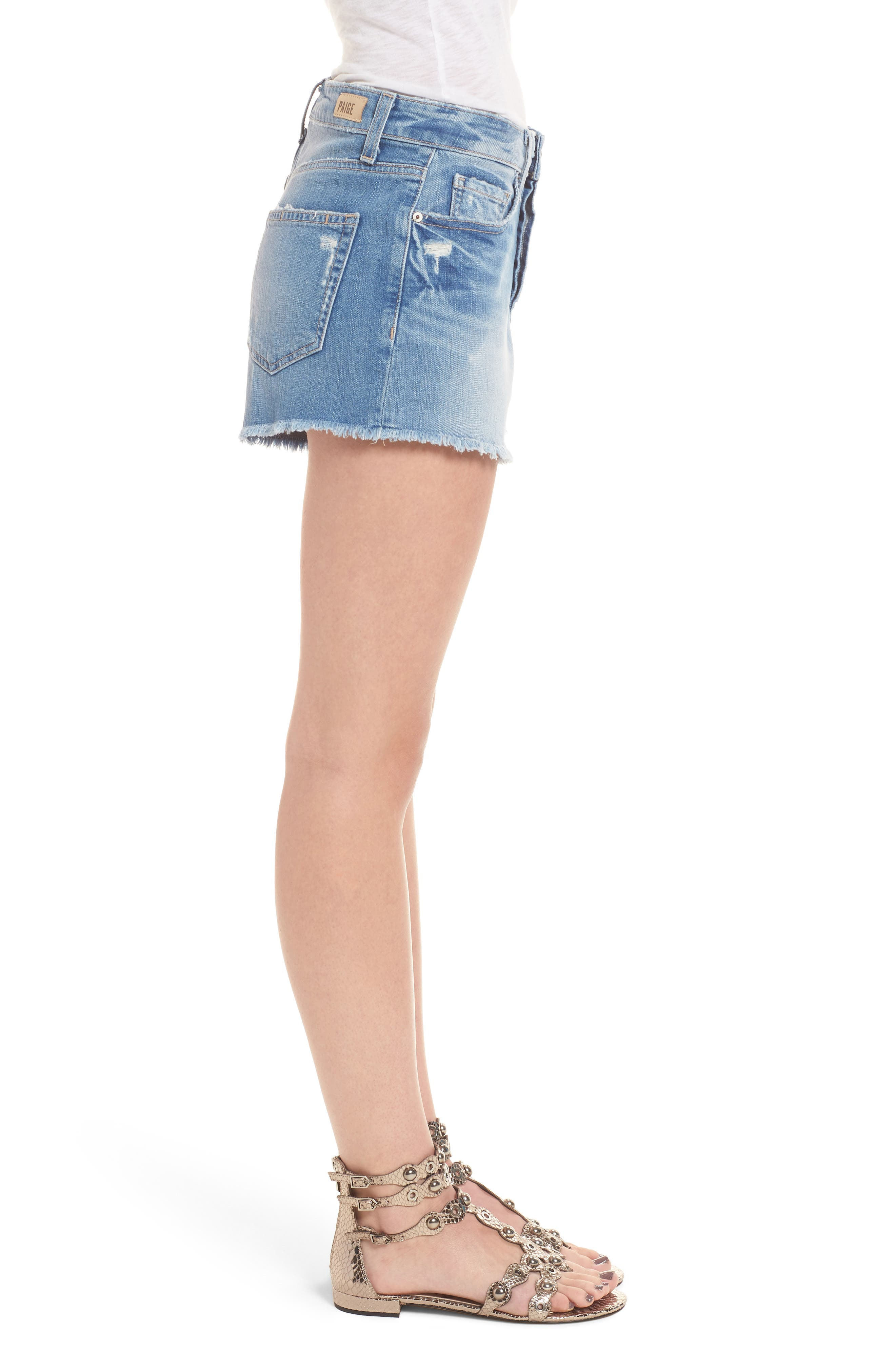 Emmitt High Waist Cutoff Denim Shorts,                             Alternate thumbnail 3, color,                             JANIS DESTRUCTED