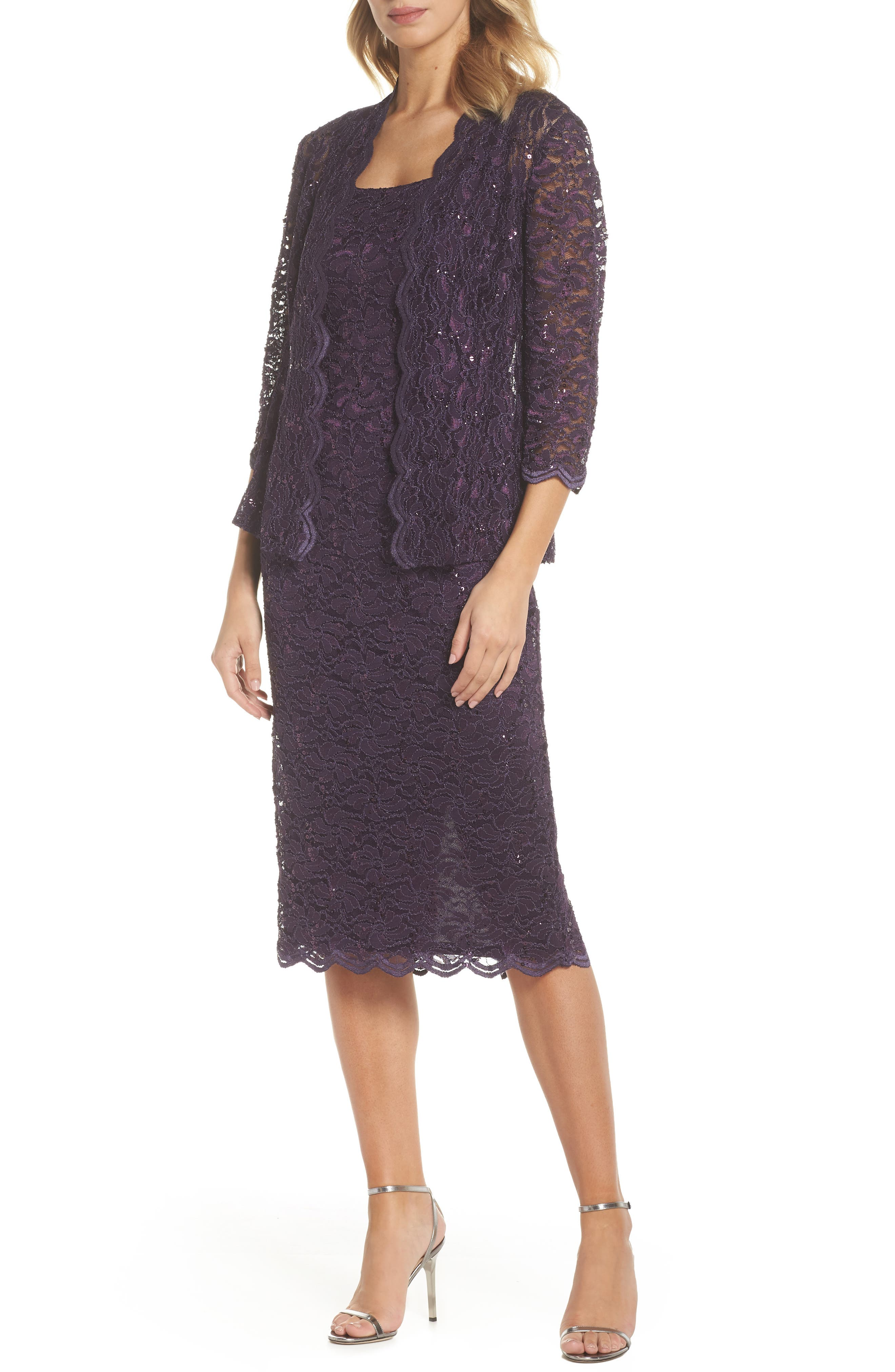 Lace Dress & Jacket,                             Main thumbnail 1, color,                             EGGPLANT