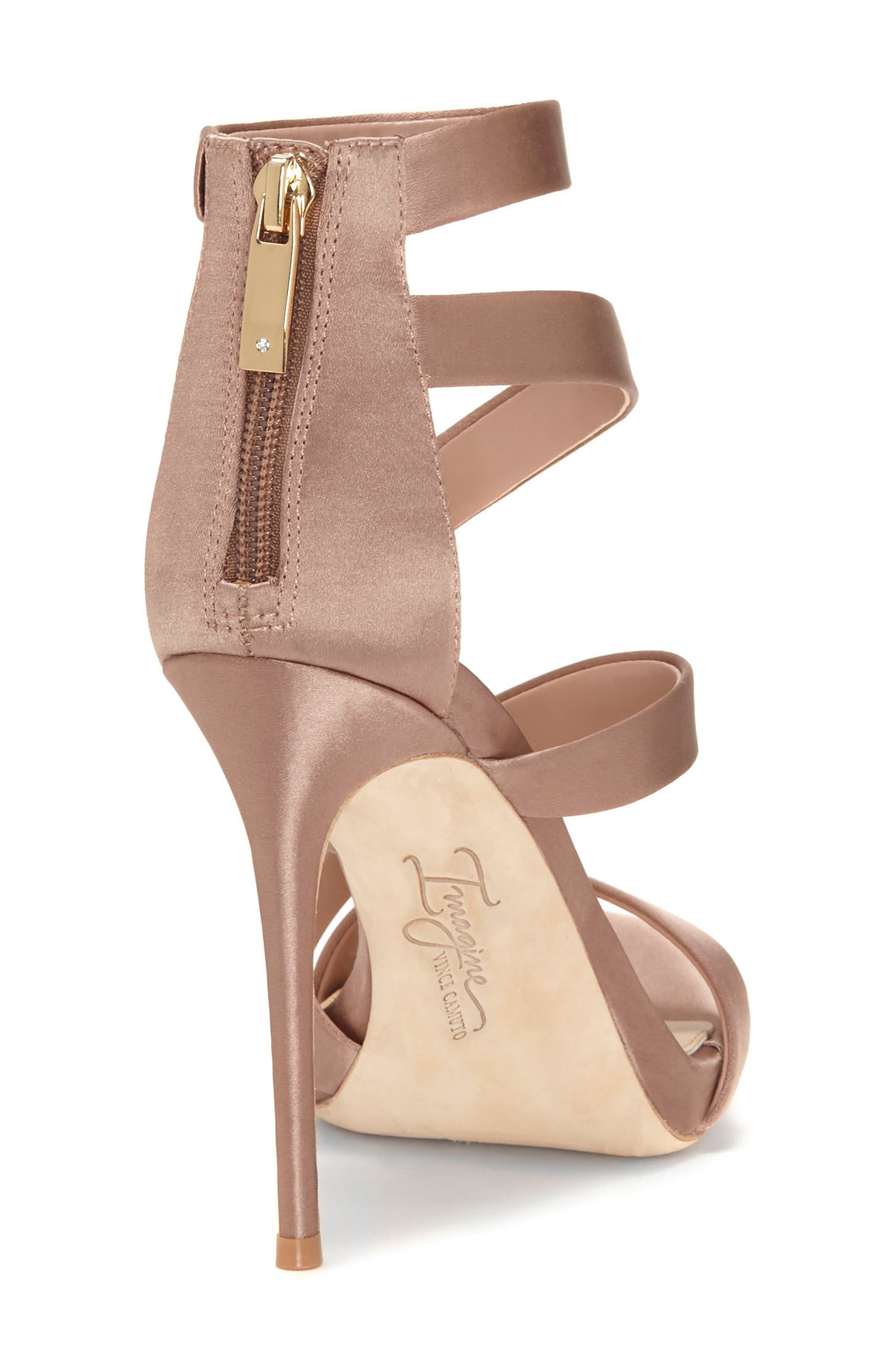 Imagine Vince Camuto Dalles Tall Strappy Sandal,                             Alternate thumbnail 2, color,                             WARM TAUPE SATIN