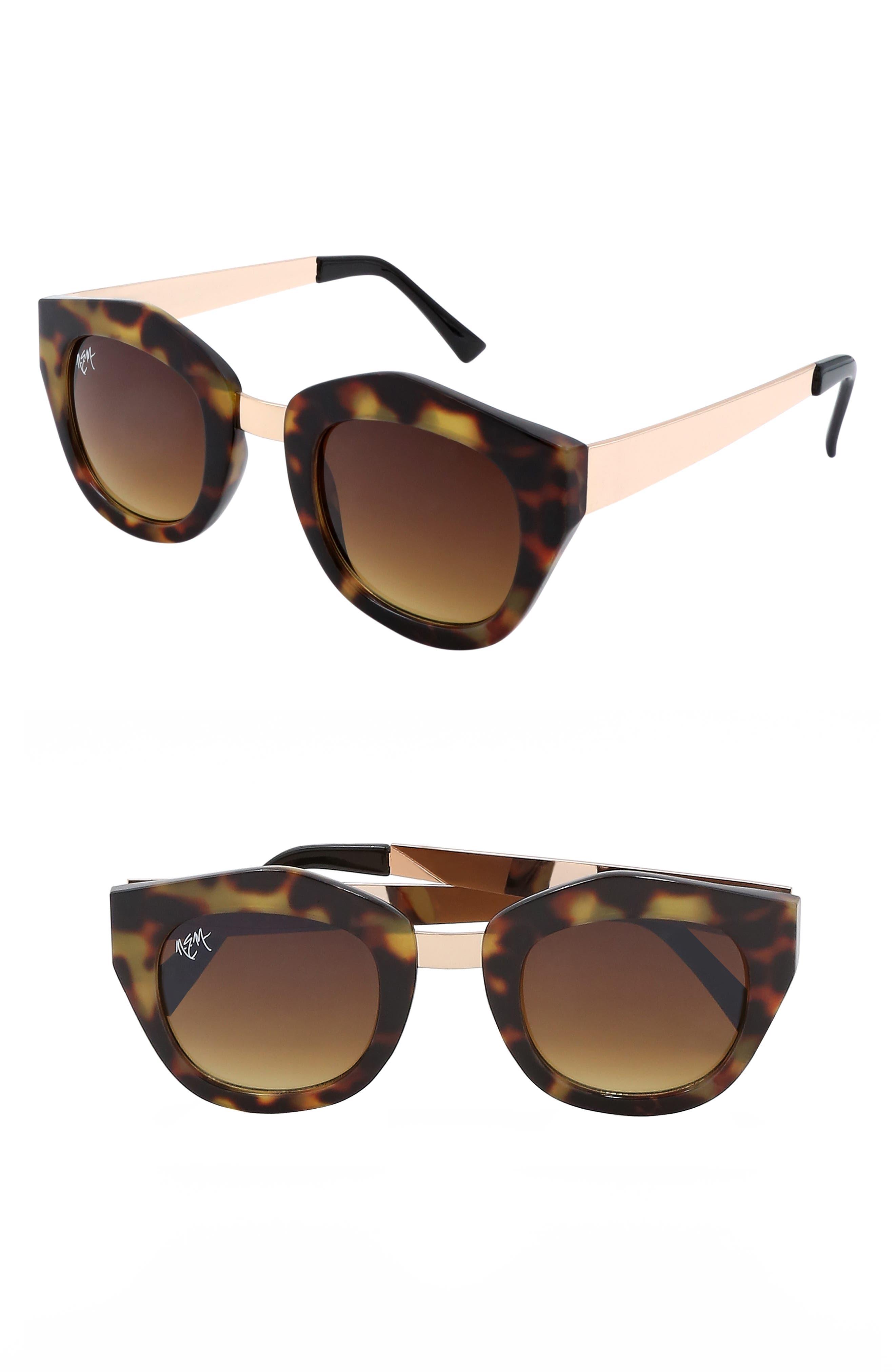 Nem Envy 45Mm Angular Sunglasses - Tortoise W Amber Lens