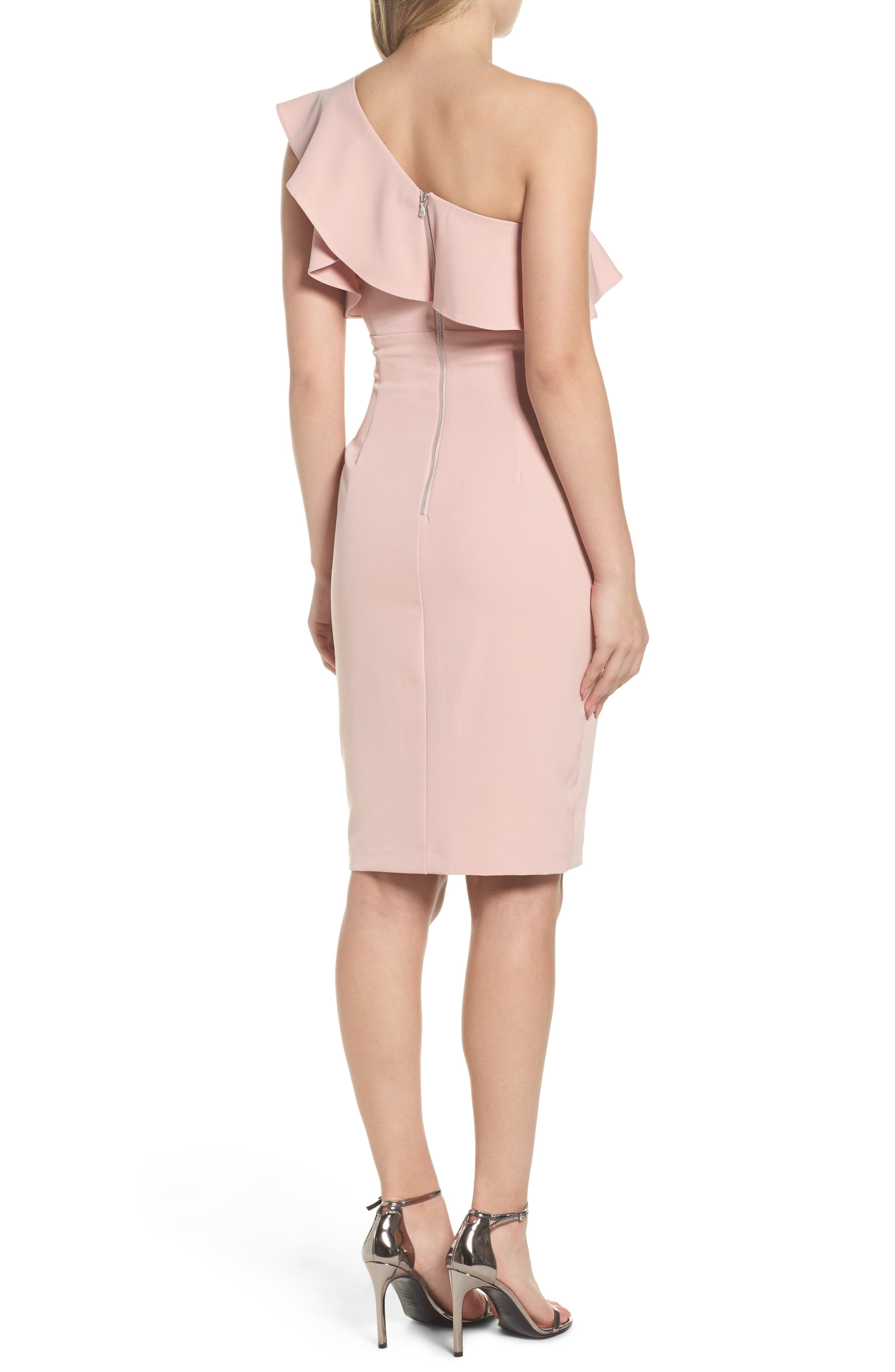 One-Shoulder Ruffle Sheath Dress,                             Alternate thumbnail 4, color,
