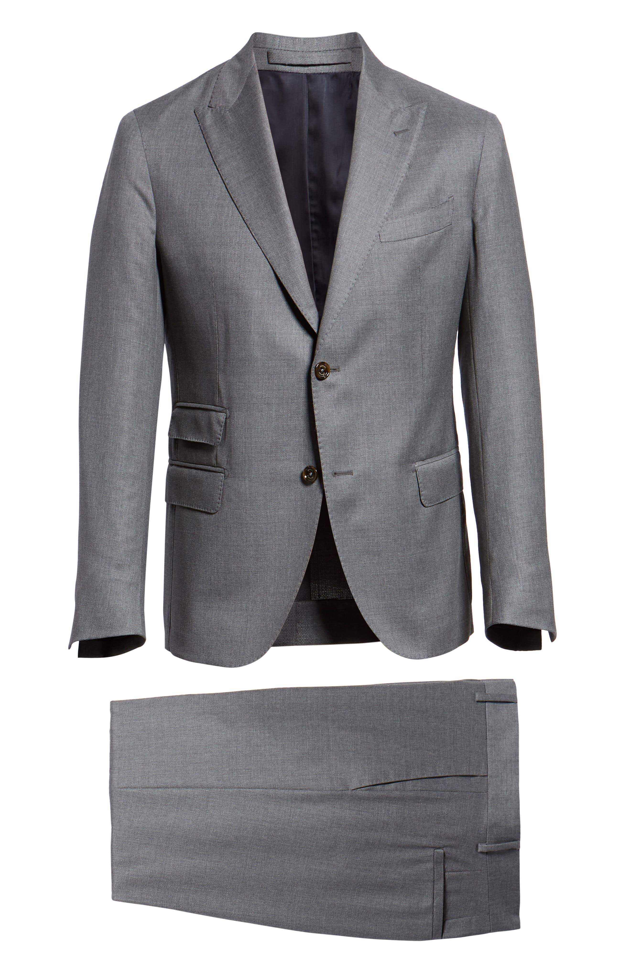 Trim Fit Wool Suit,                             Alternate thumbnail 8, color,                             LIGHT GREY