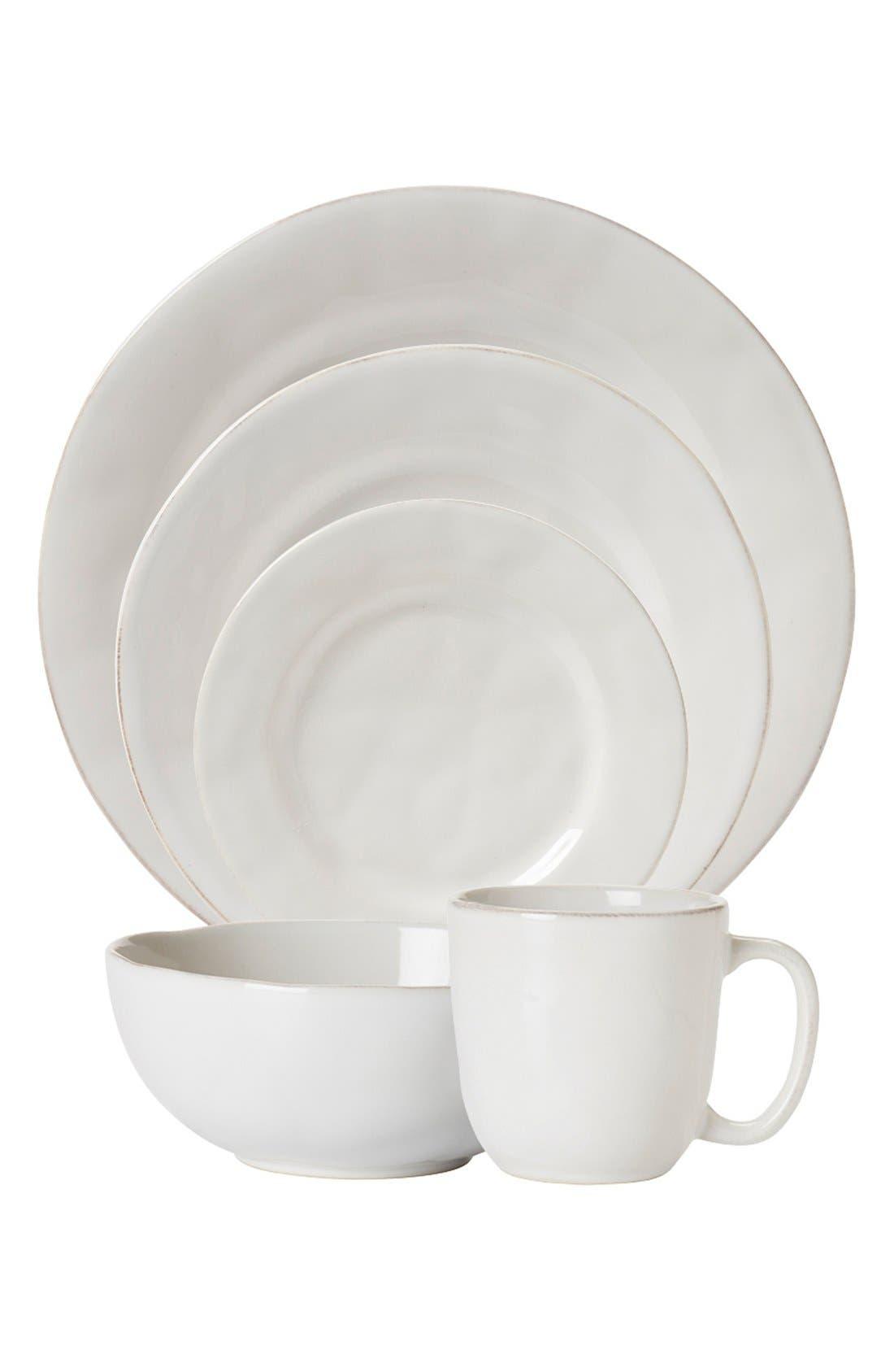'Puro' 5-Piece Dinnerware Place Setting,                         Main,                         color, WHITE