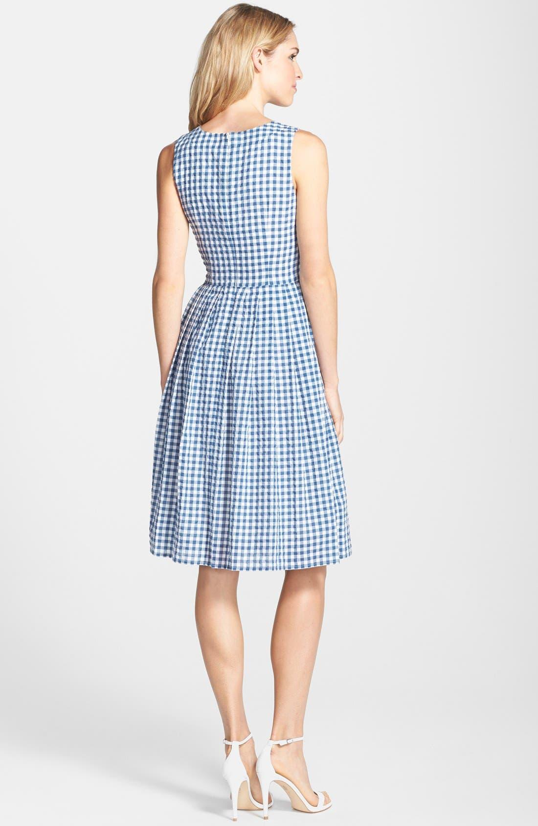 Gingham Cotton Fit & Flare Midi Dress,                             Alternate thumbnail 3, color,                             400