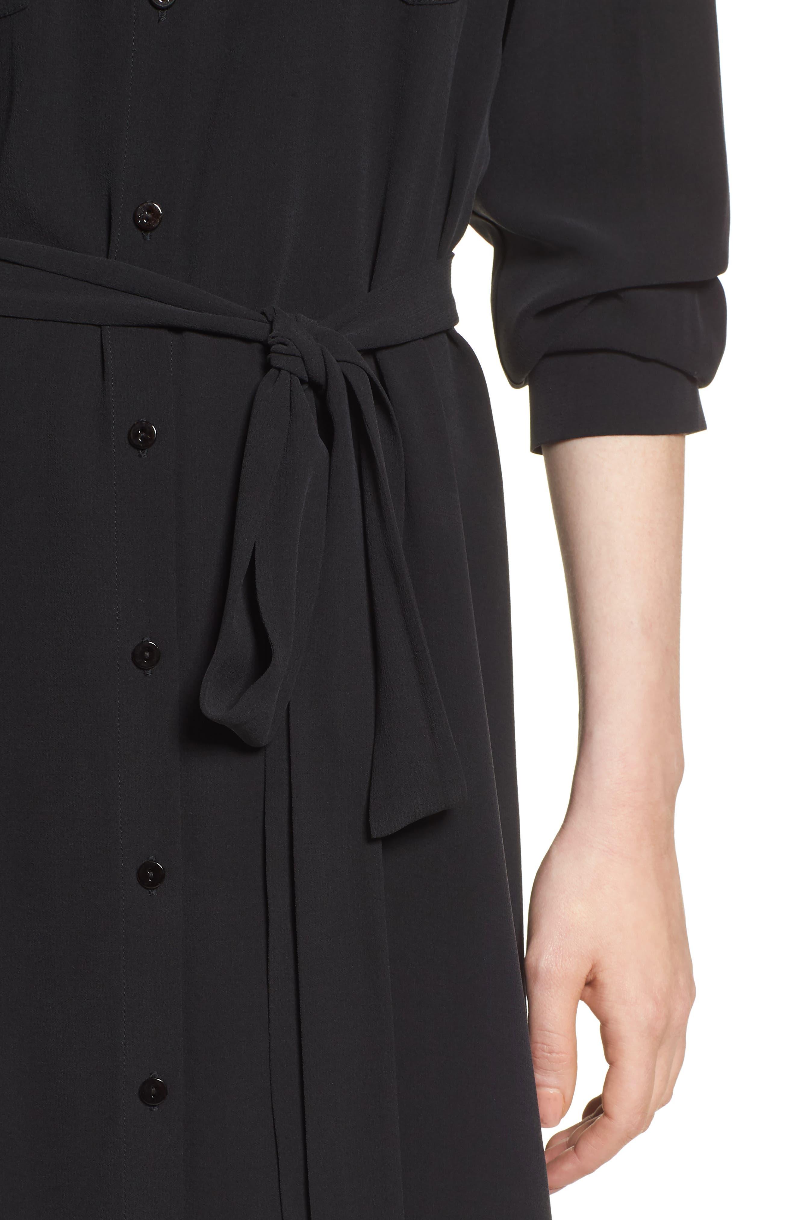 Silk Georgette Crepe Shirtdress,                             Alternate thumbnail 4, color,                             001