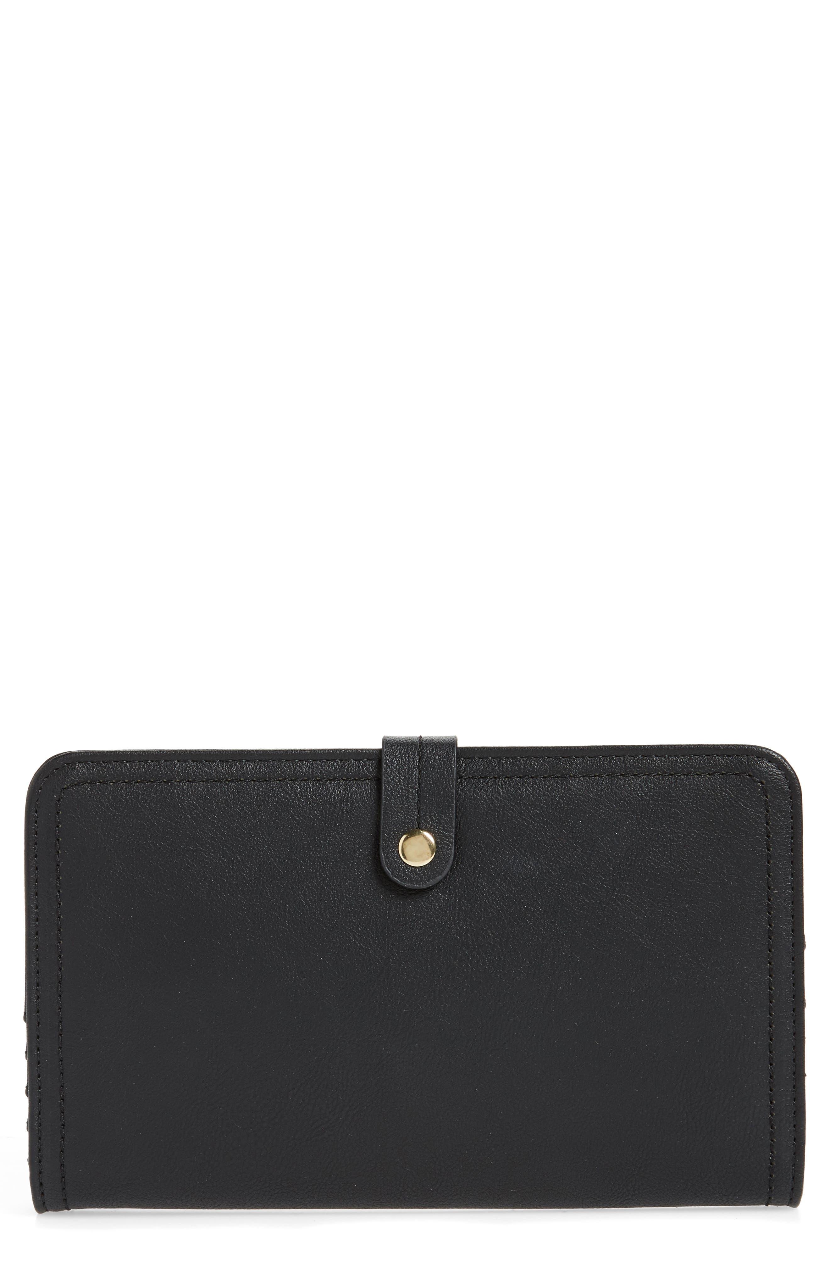 Travel Faux Leather Wallet,                             Main thumbnail 1, color,                             BLACK