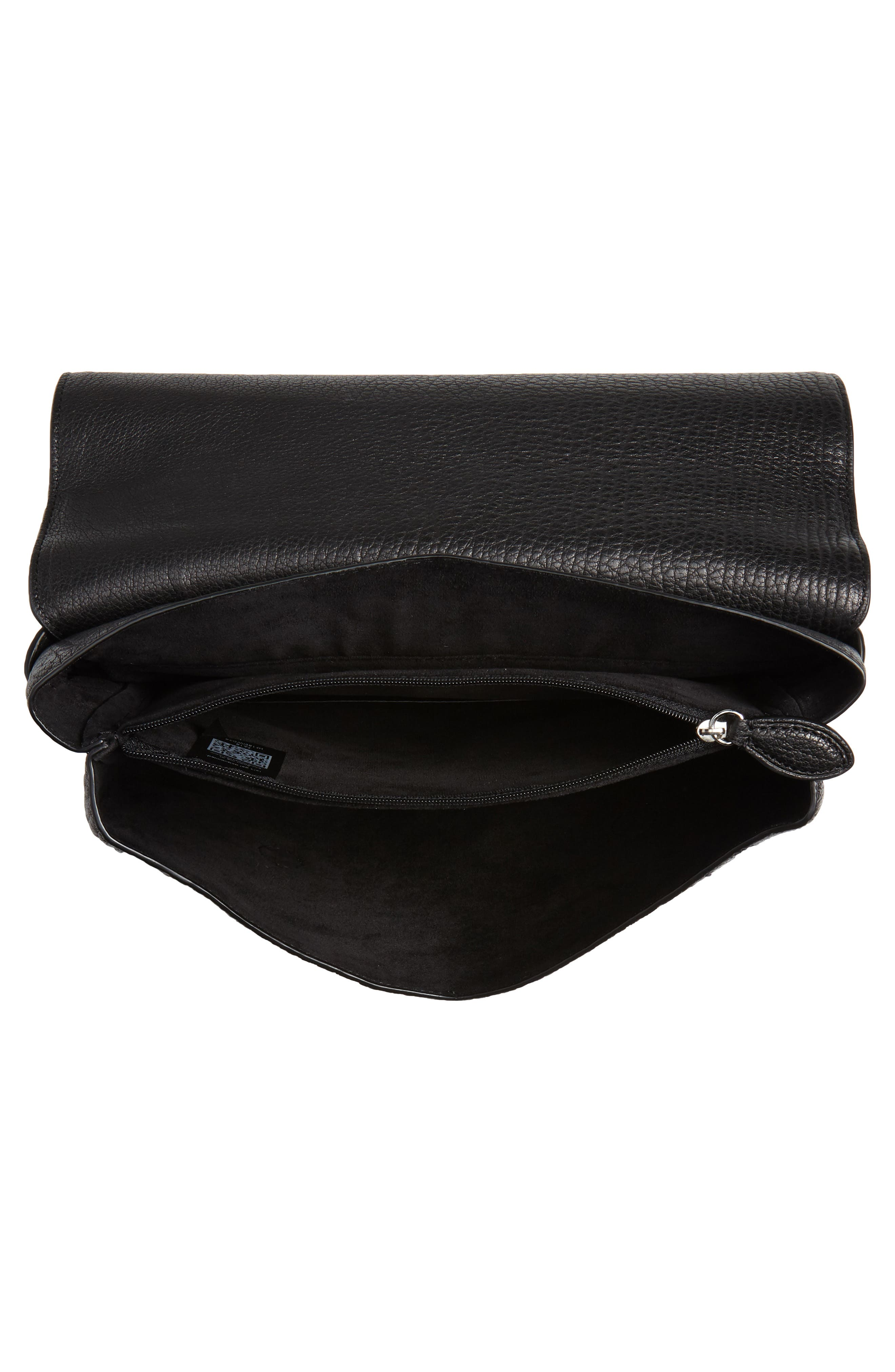 Isabel Fringe Leather Shoulder Bag,                             Alternate thumbnail 5, color,                             001