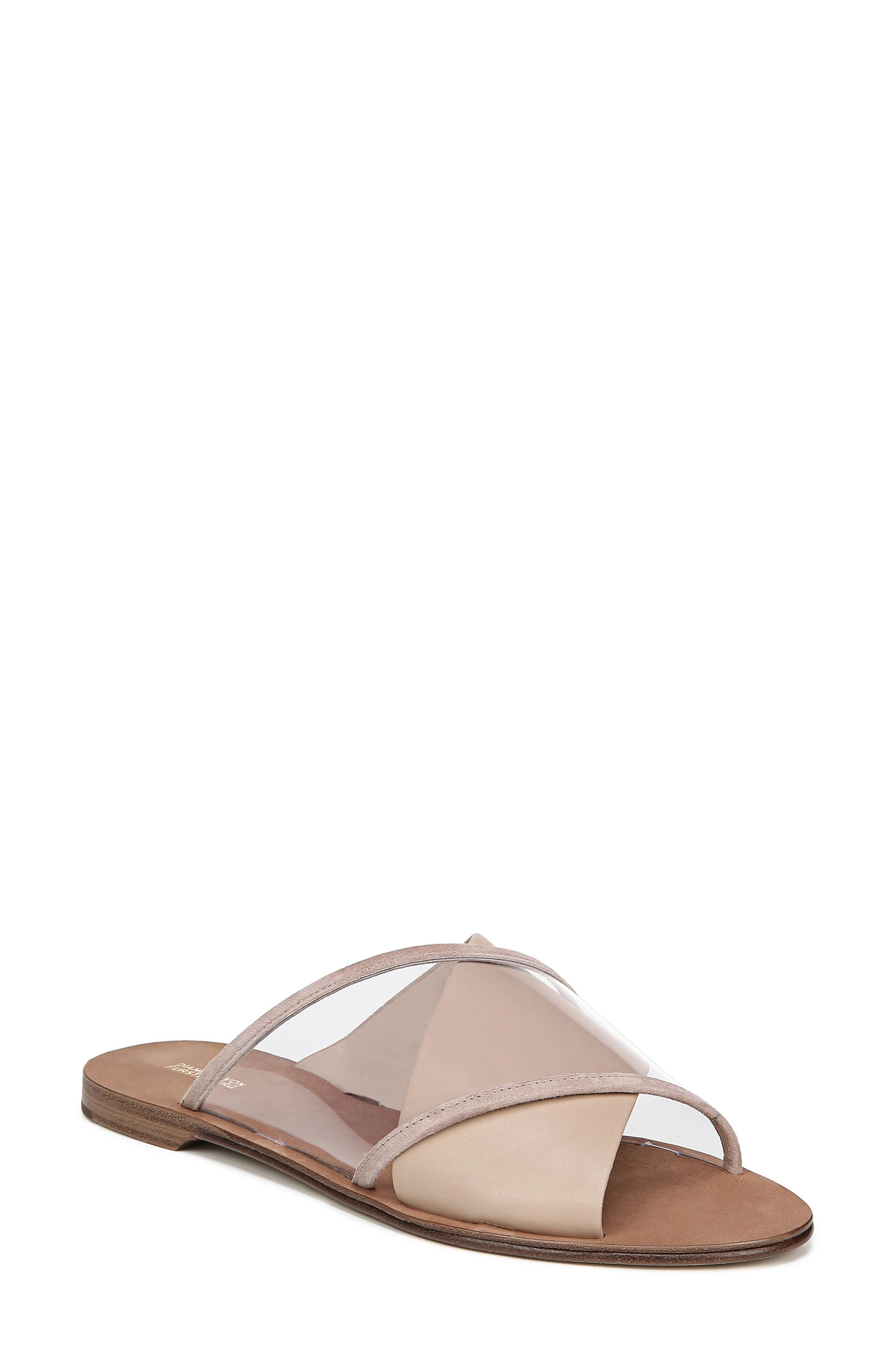 Bailie-4 Clear Crisscross Slide Sandals in Powder