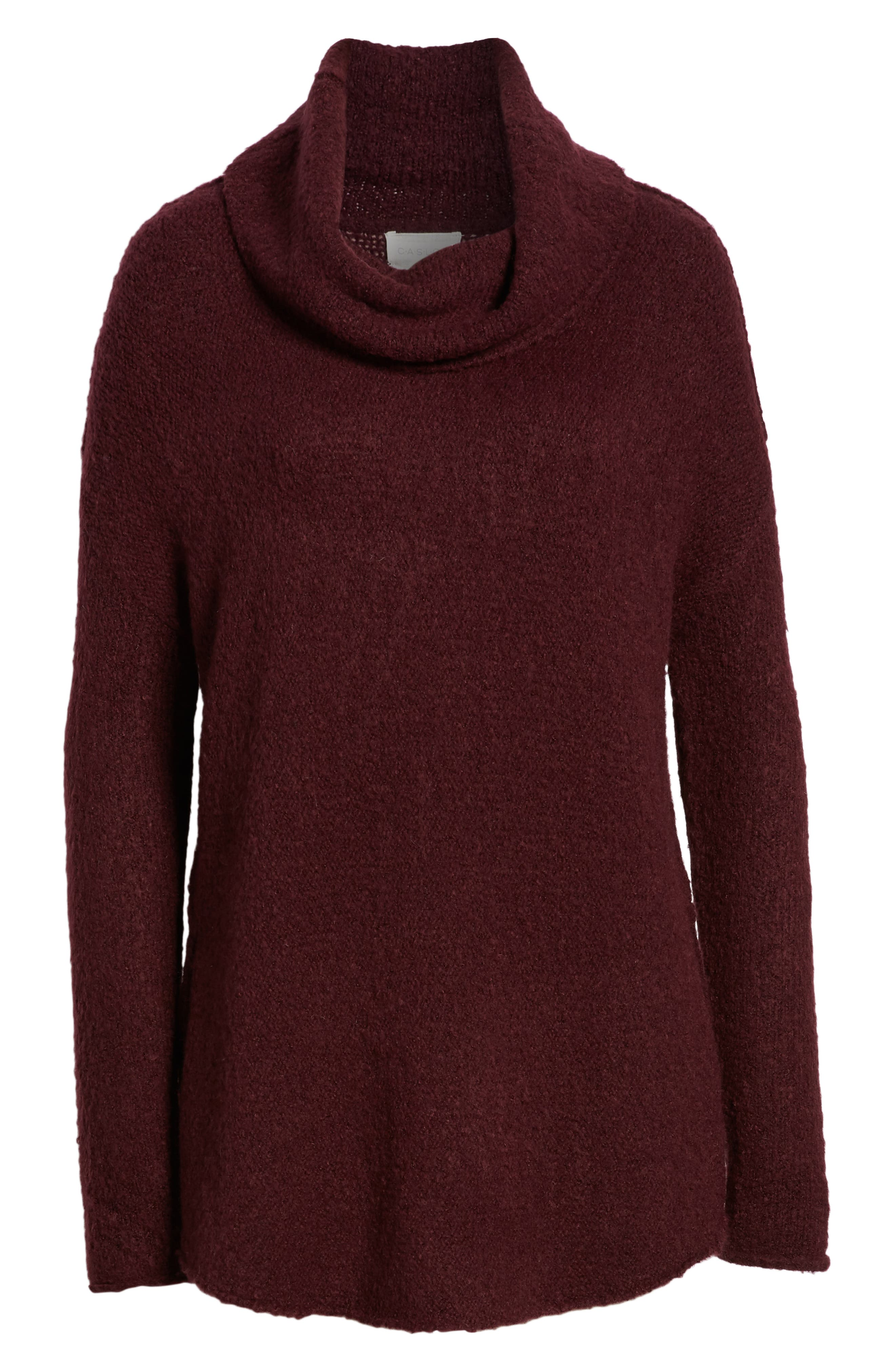 Tunic Sweater,                             Alternate thumbnail 6, color,                             BURGUNDY FIG