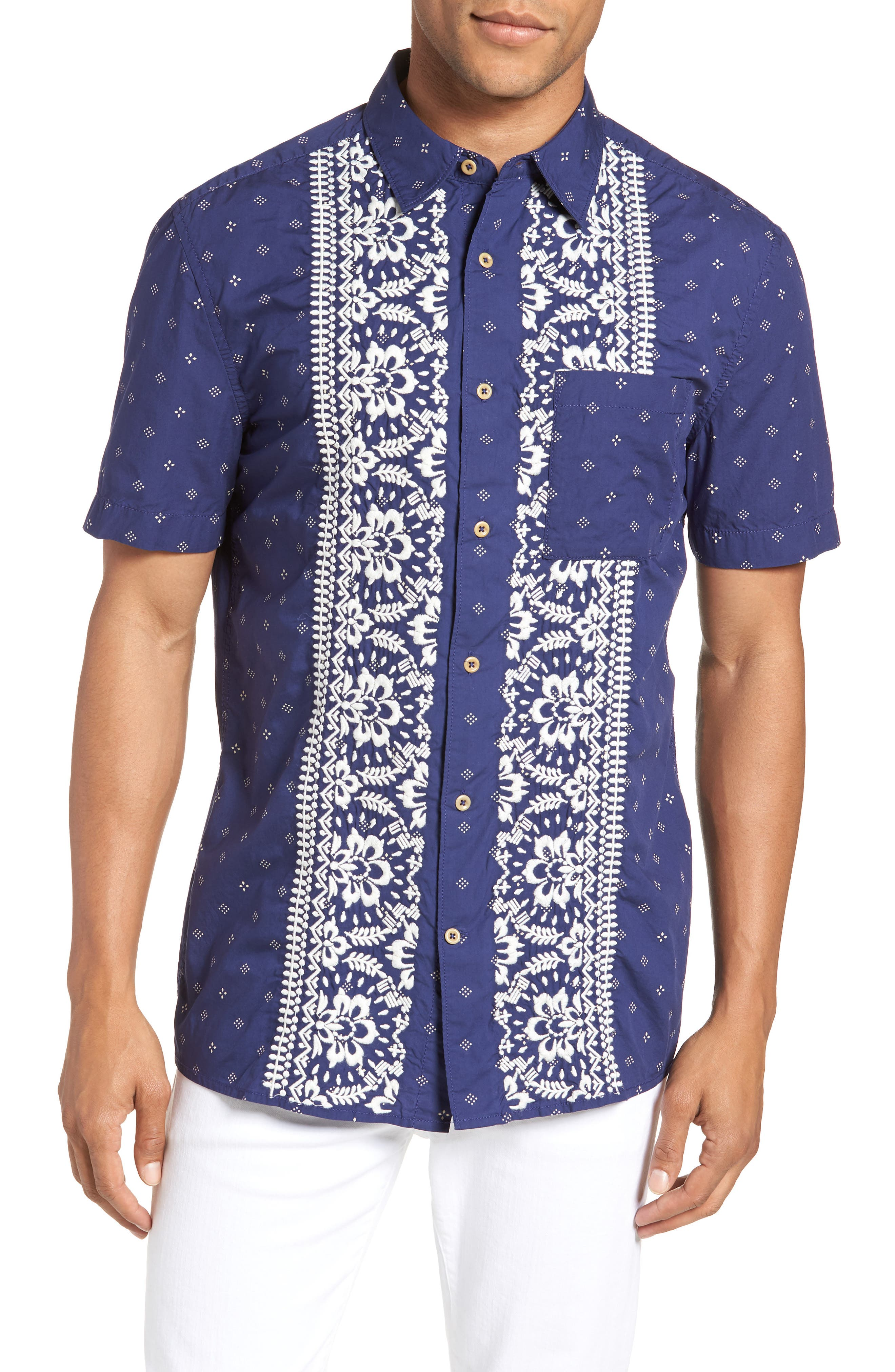 Iki Lawn Embroidered Shirt,                         Main,                         color, PATRIOT BLUE TURTLE DOVE