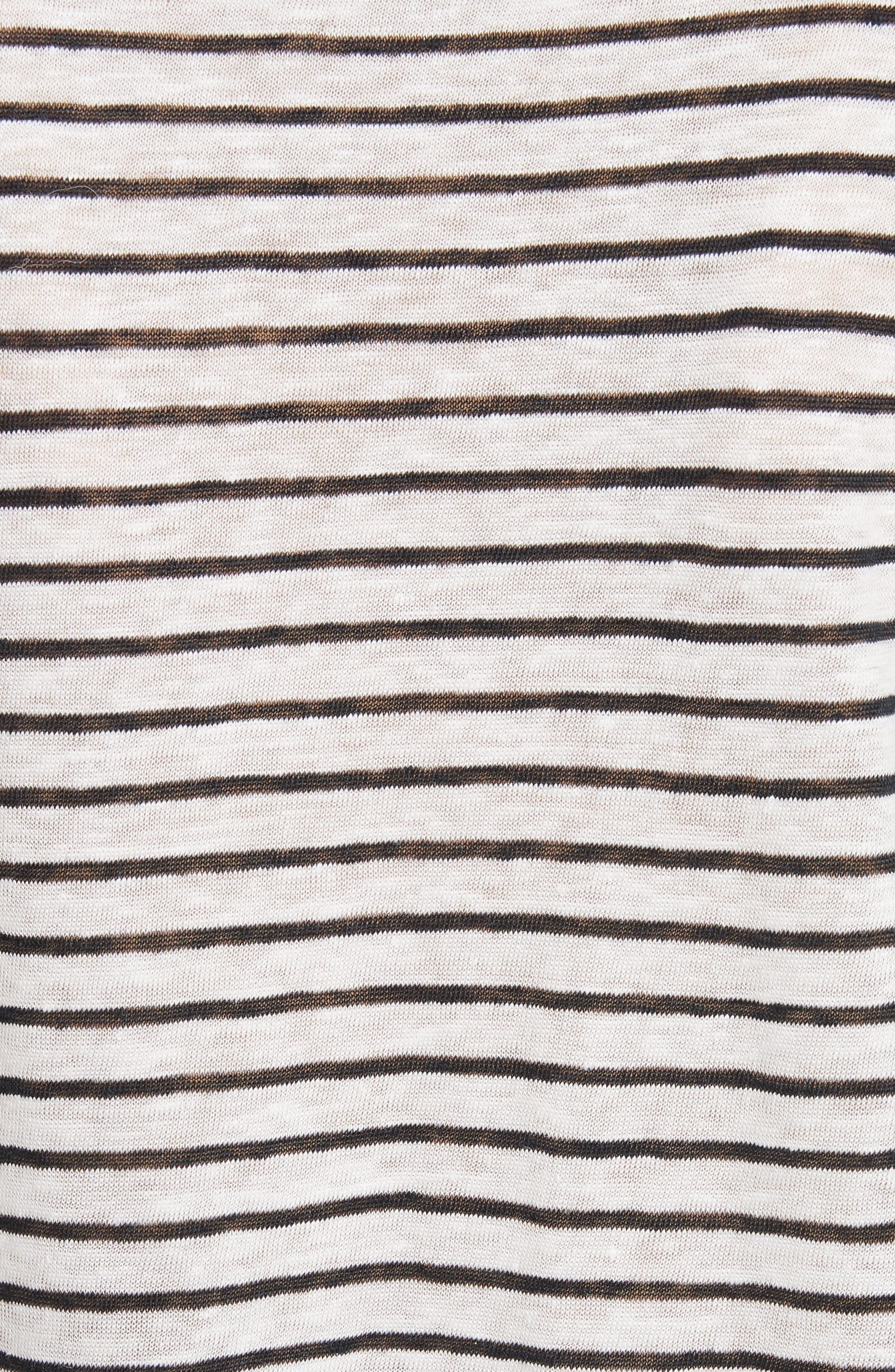Acenath Eyelet Sleeve Stripe Linen Tee,                             Alternate thumbnail 5, color,                             131
