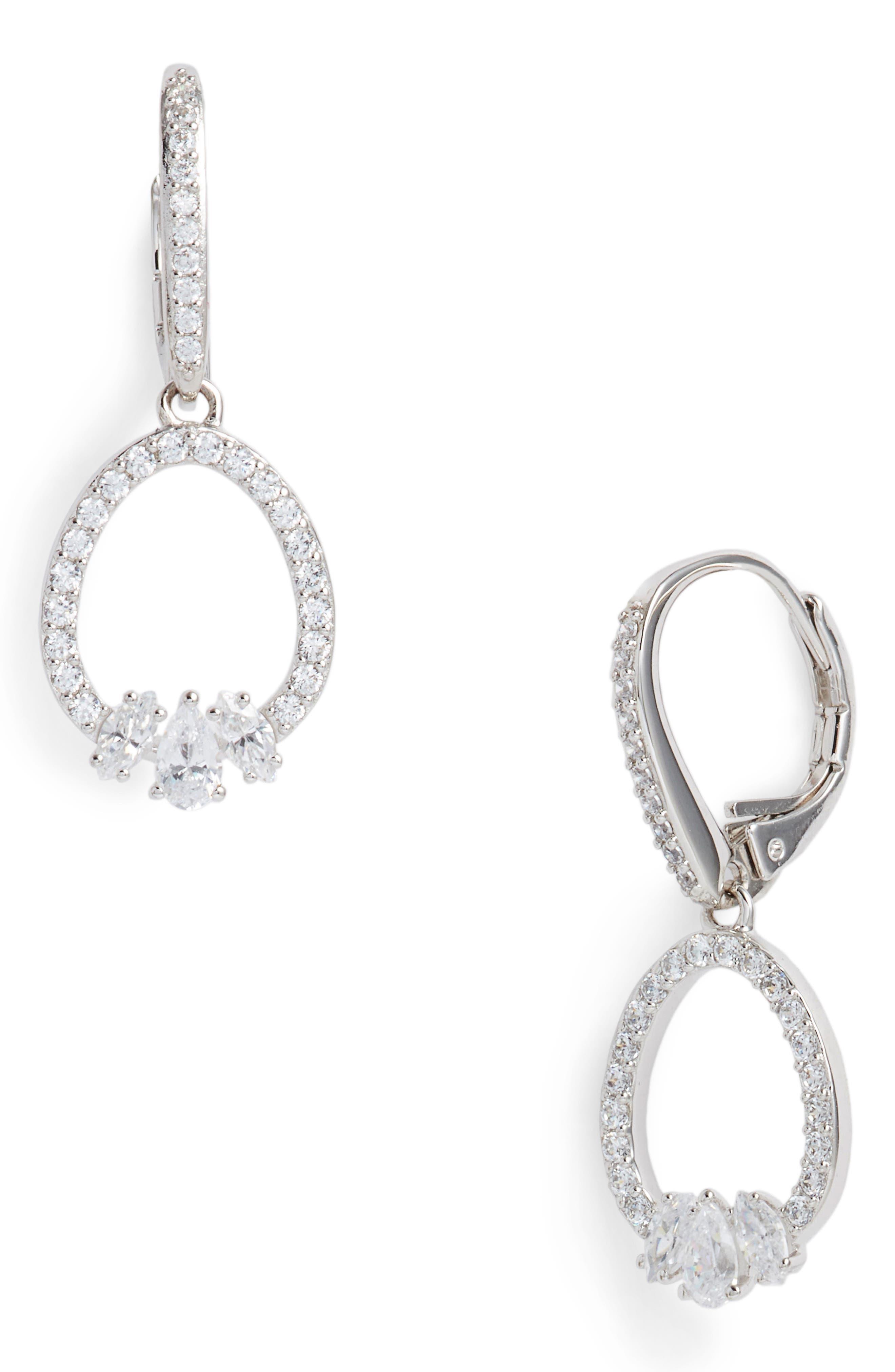 NADRI Fete Cubic Zirconia Drop Earrings in Silver