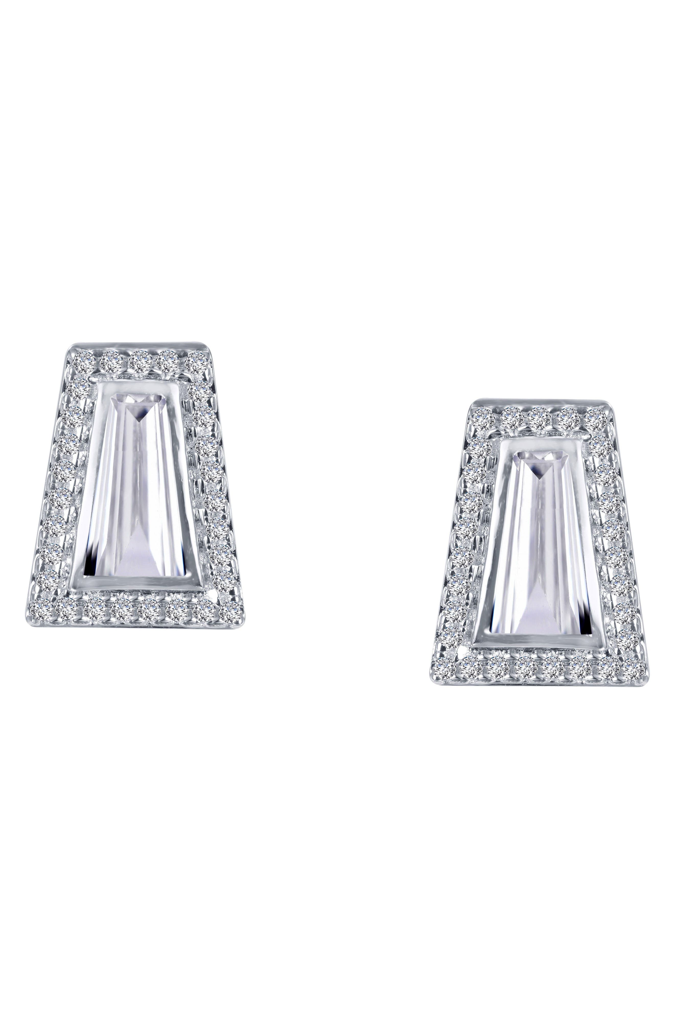 Bezel Stud Earrings,                             Alternate thumbnail 3, color,                             SILVER/ CLEAR
