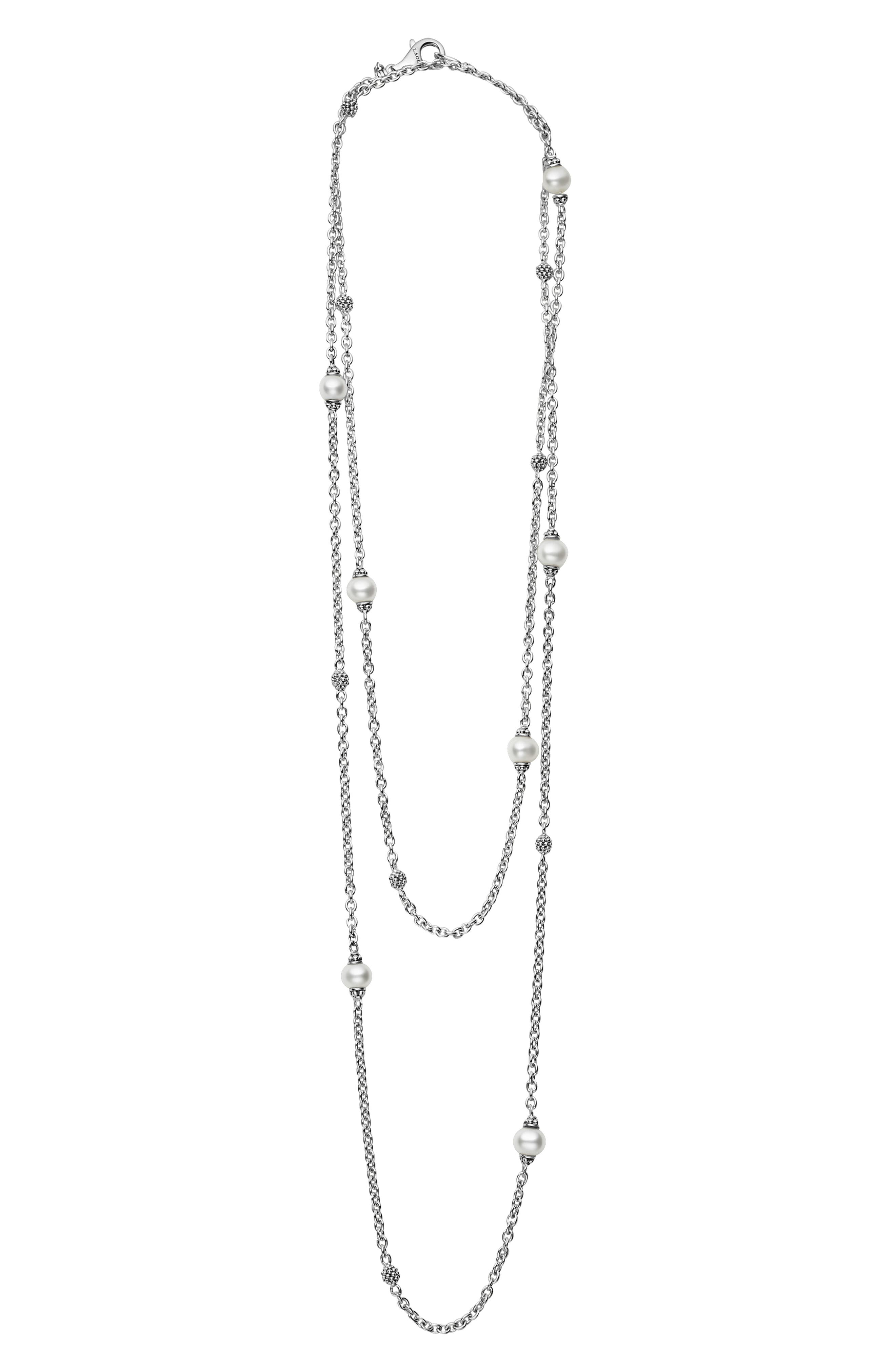 LAGOS,                             'Luna' Double Strand Pearl Station Necklace,                             Main thumbnail 1, color,                             SILVER/ PEARL