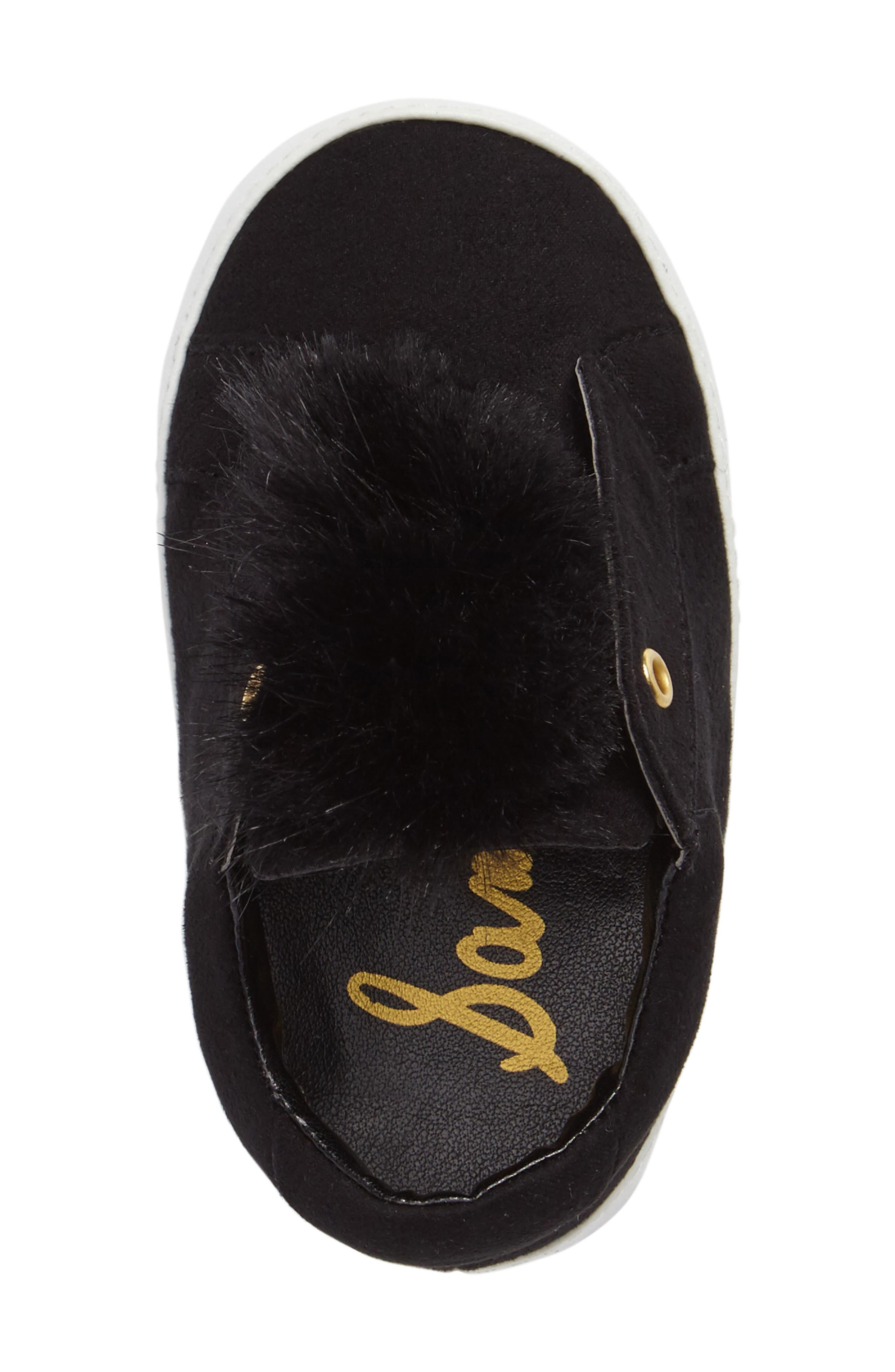 Leya Faux Fur Pompom Sneaker,                             Alternate thumbnail 5, color,                             001