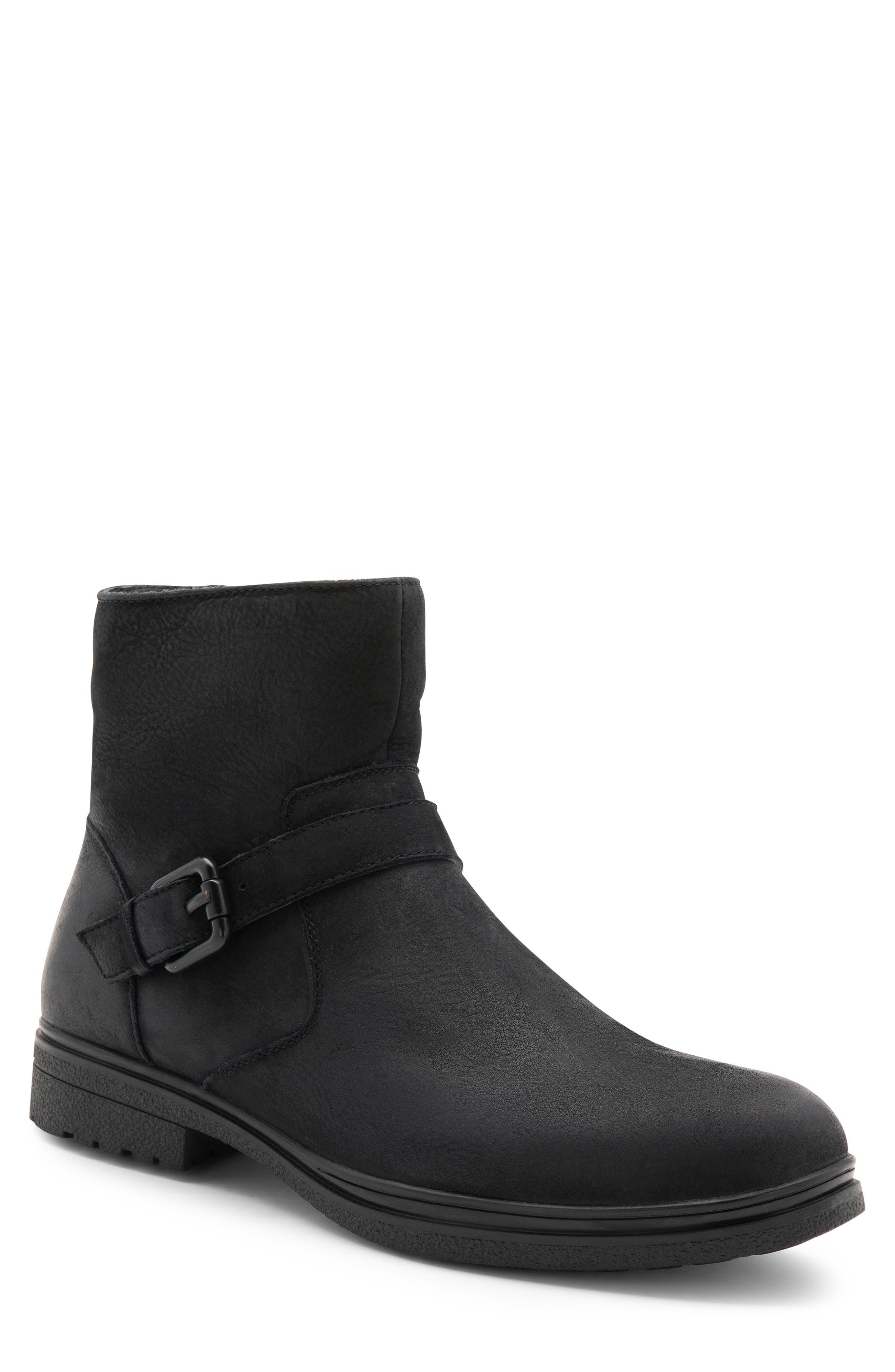 Sylvester Waterproof Buckle Boot,                         Main,                         color, BLACK NUBUCK