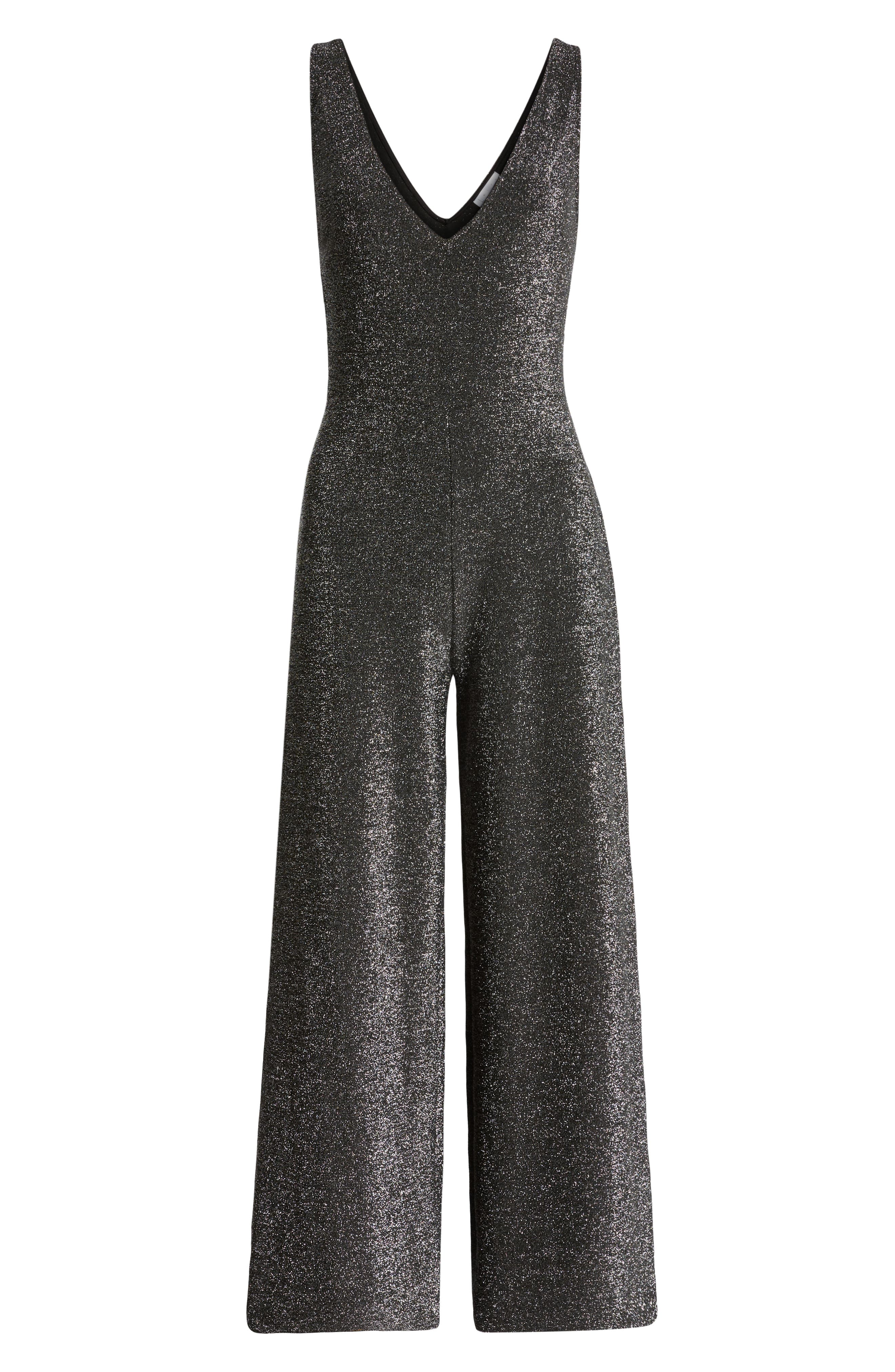 Night Out Metallic Jumpsuit,                             Alternate thumbnail 7, color,                             SILVER METALLIC
