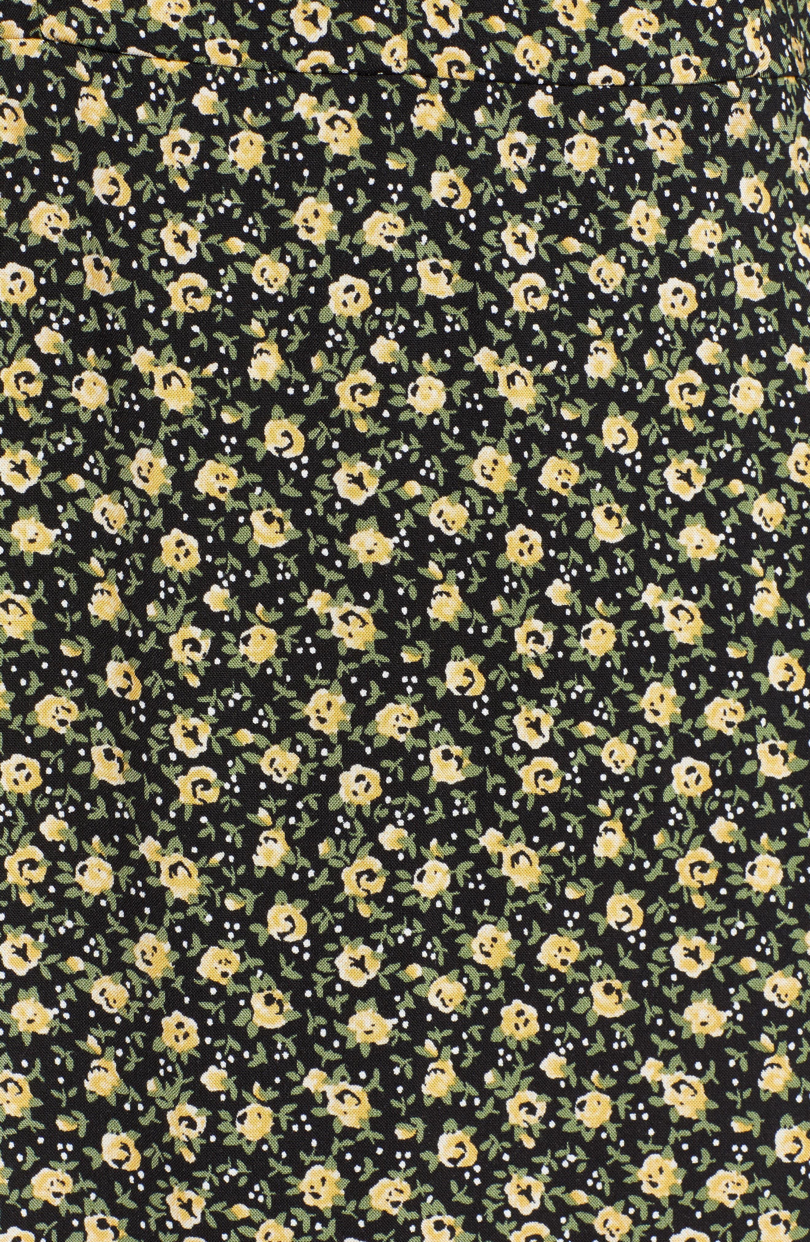 ROW A,                             Floral Print Minidress,                             Alternate thumbnail 6, color,                             BLACK YELLOW FLORAL