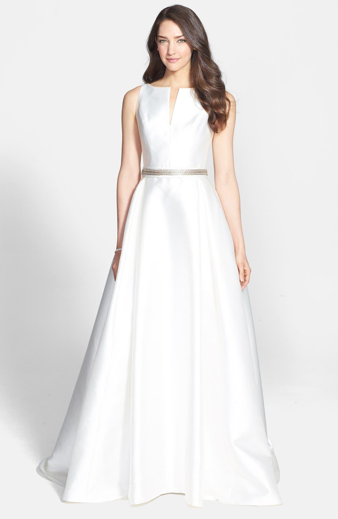 Embellished Waist Mikado A-Line Dress,                             Alternate thumbnail 3, color,                             IVORY