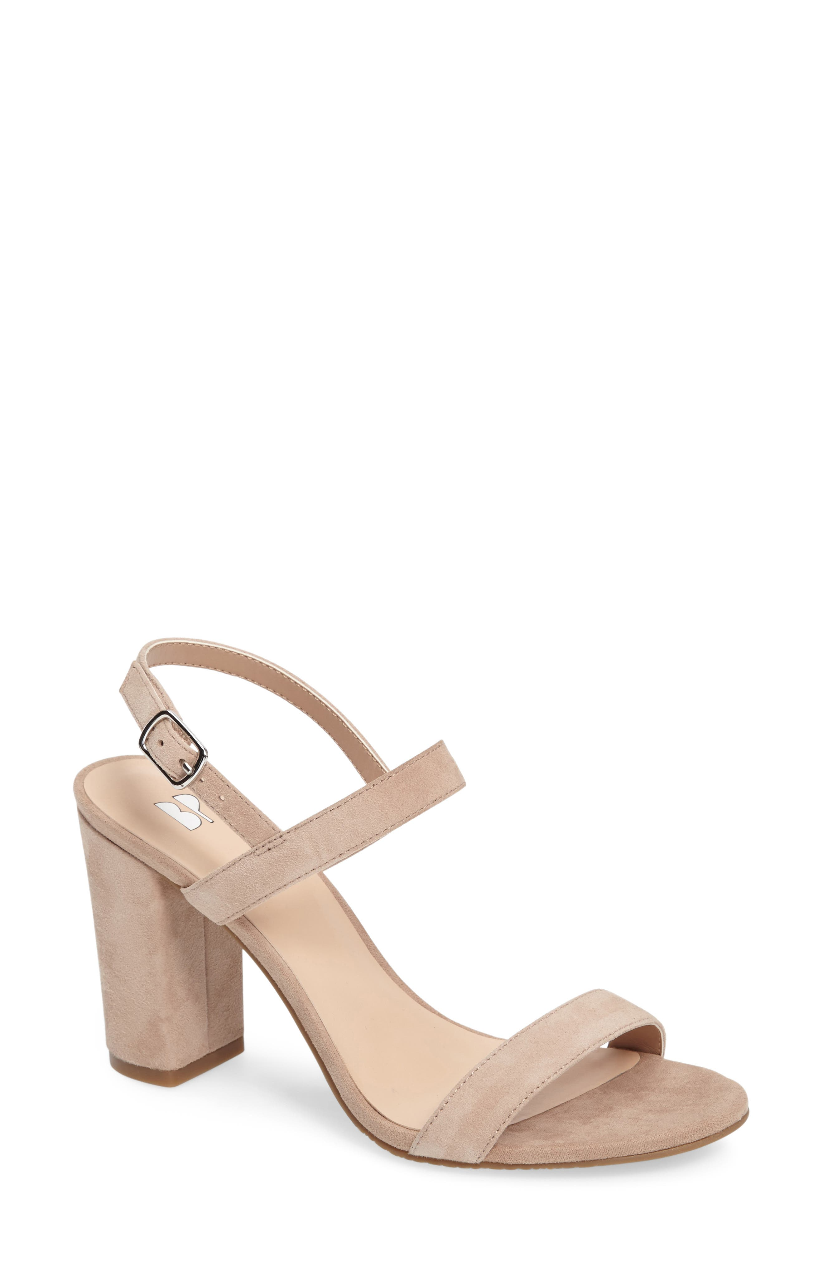 Lula Block Heel Slingback Sandal,                             Main thumbnail 1, color,                             BLUSH SUEDE