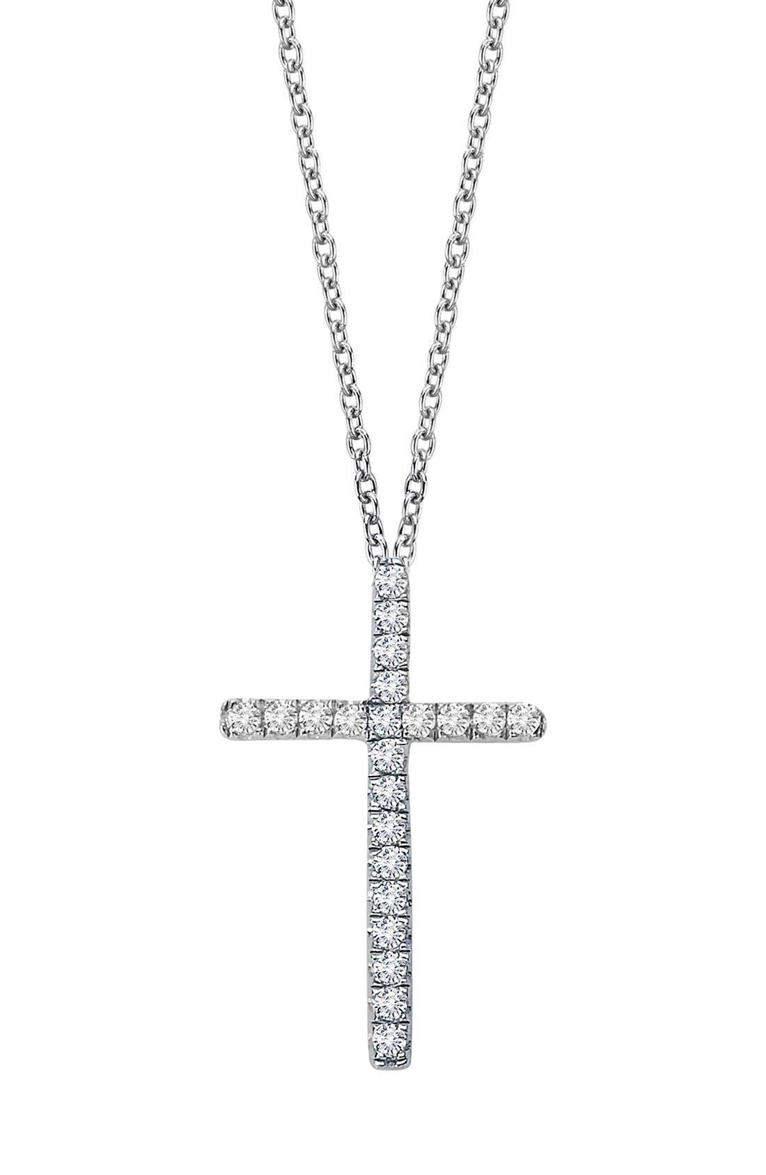 Cross Pendant Necklace,                             Main thumbnail 1, color,                             SILVER