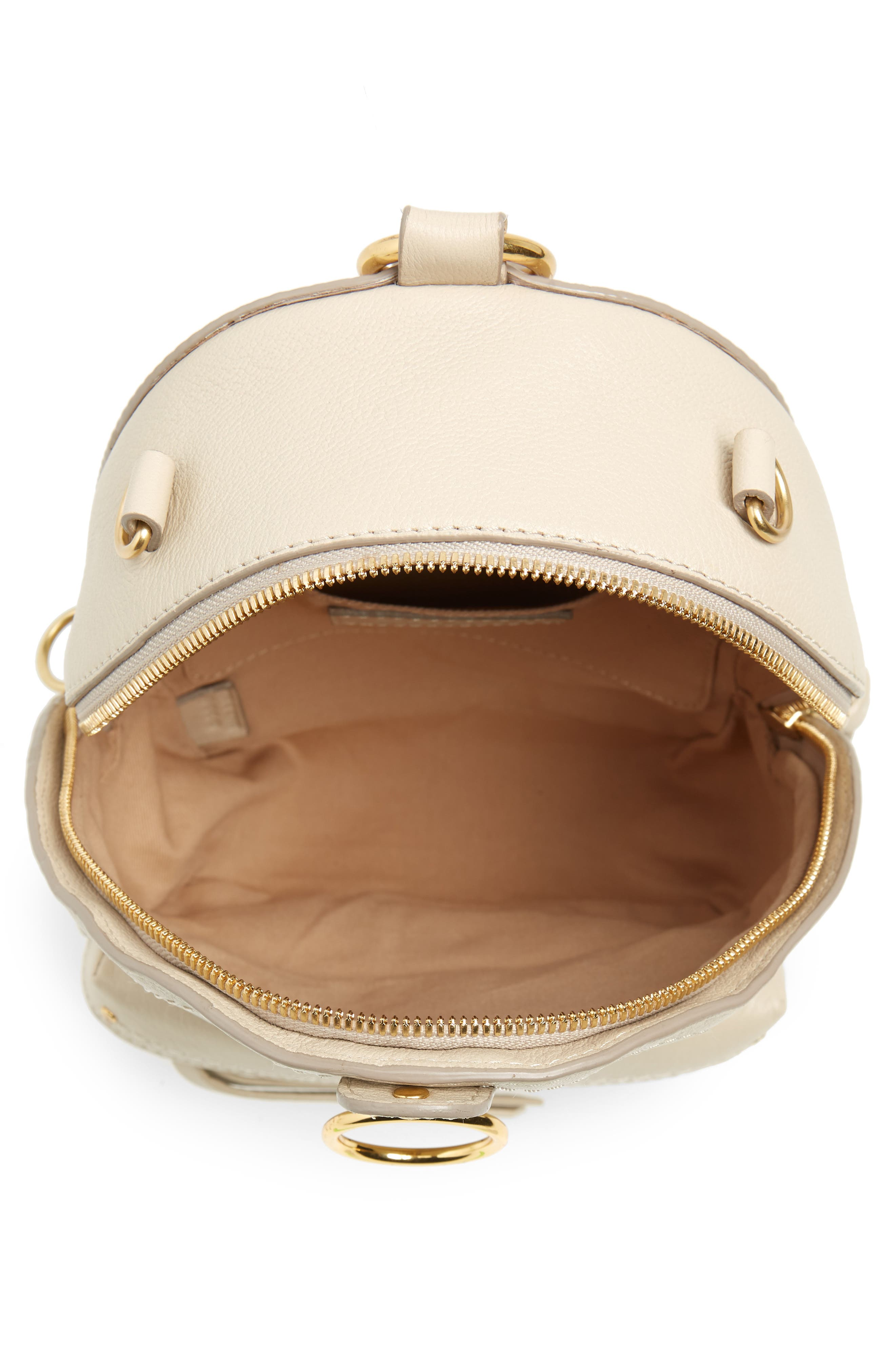 Mini Mino Leather Backpack,                             Alternate thumbnail 5, color,                             CEMENT BEIGE